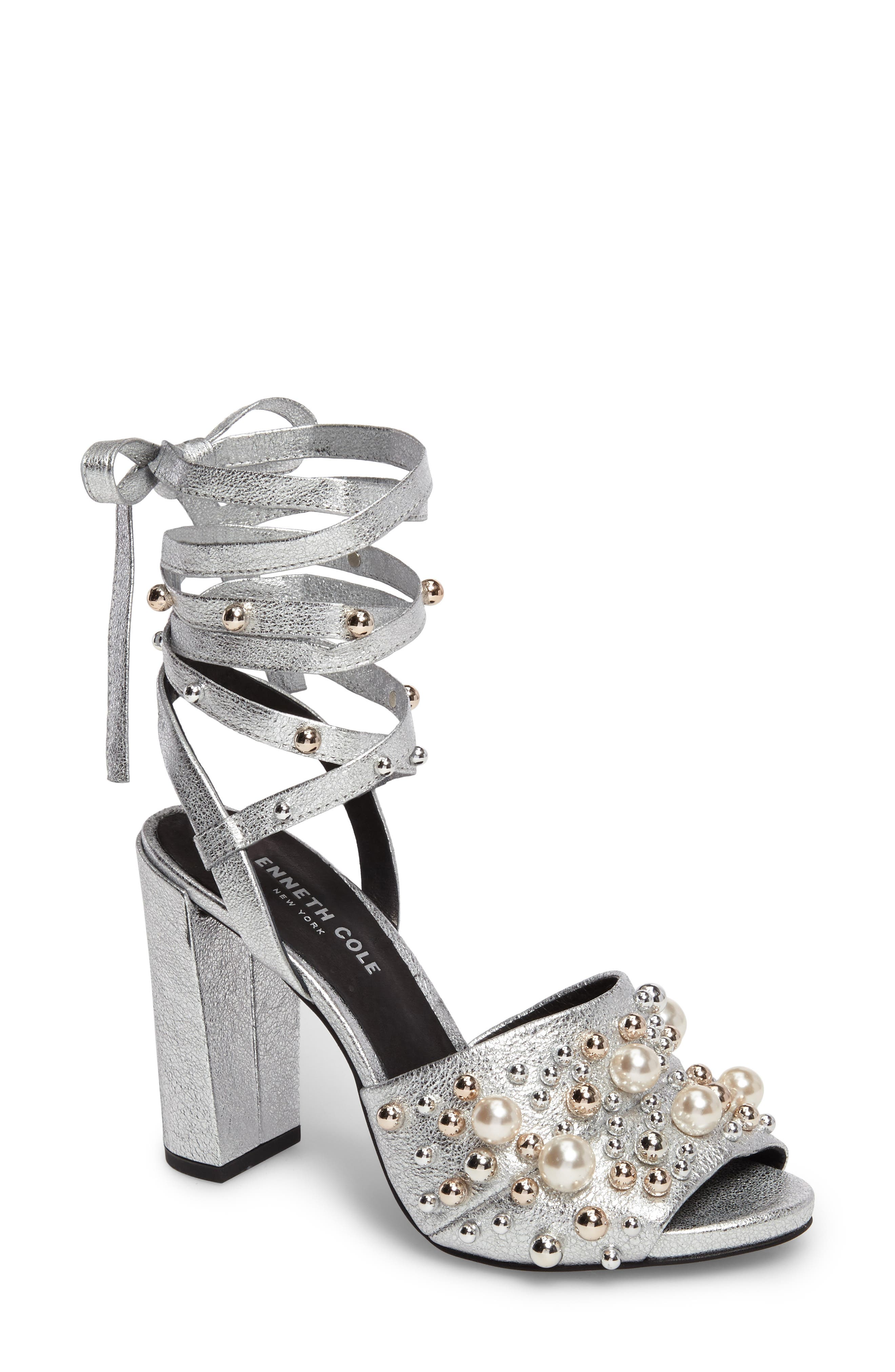 Dierdre Embellished Sandal,                         Main,                         color, Nickel Leather