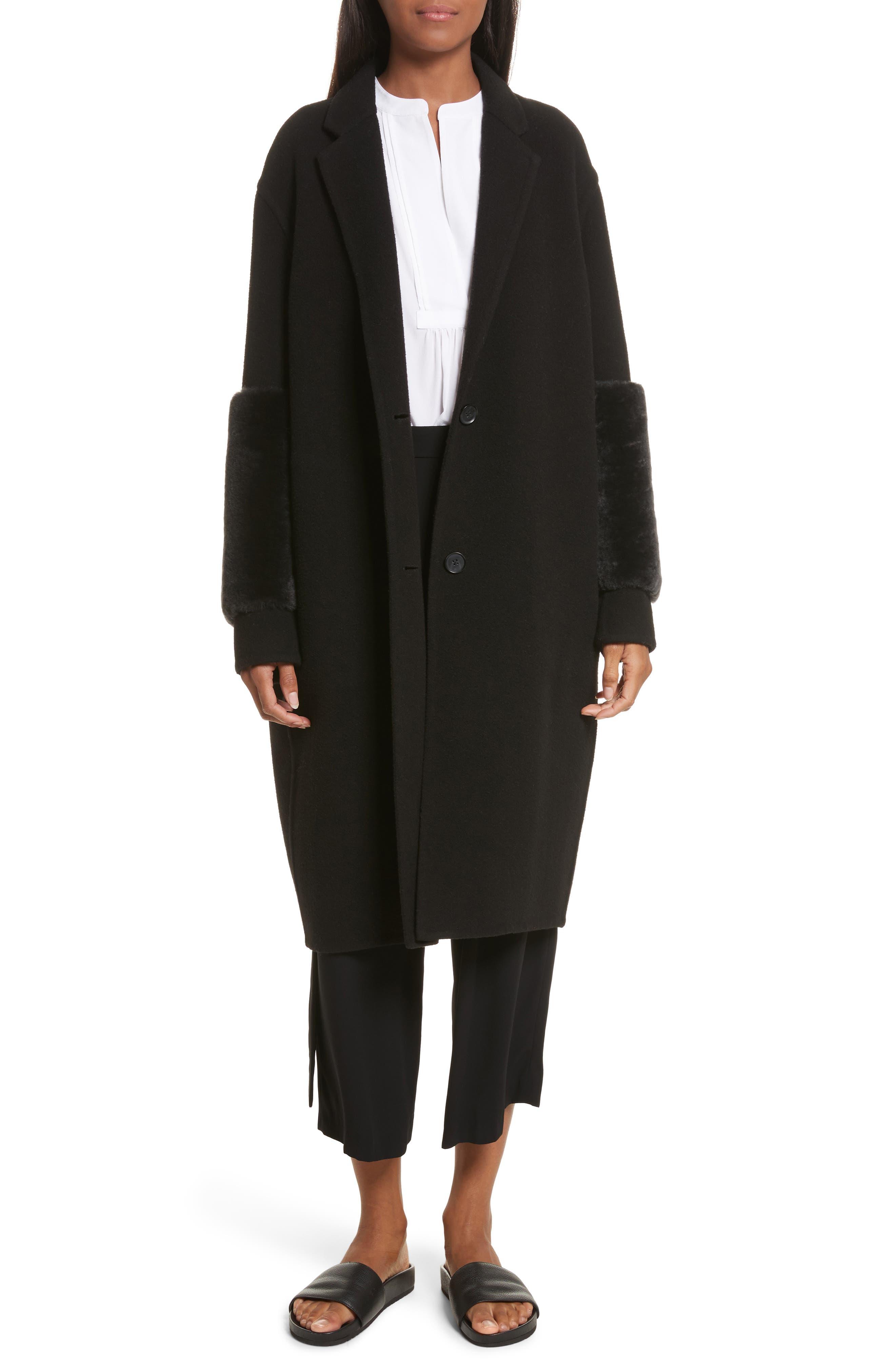 Genuine Shearling Trim Long Coat,                             Main thumbnail 1, color,                             Black