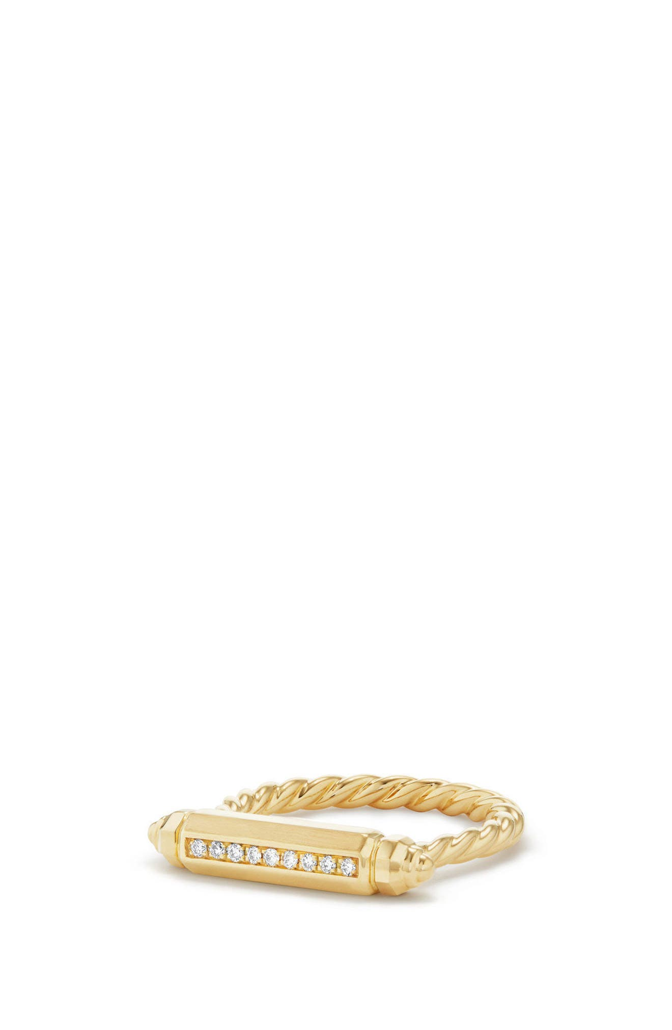 David Yurman Barrels Ring with Diamonds in 18K Gold