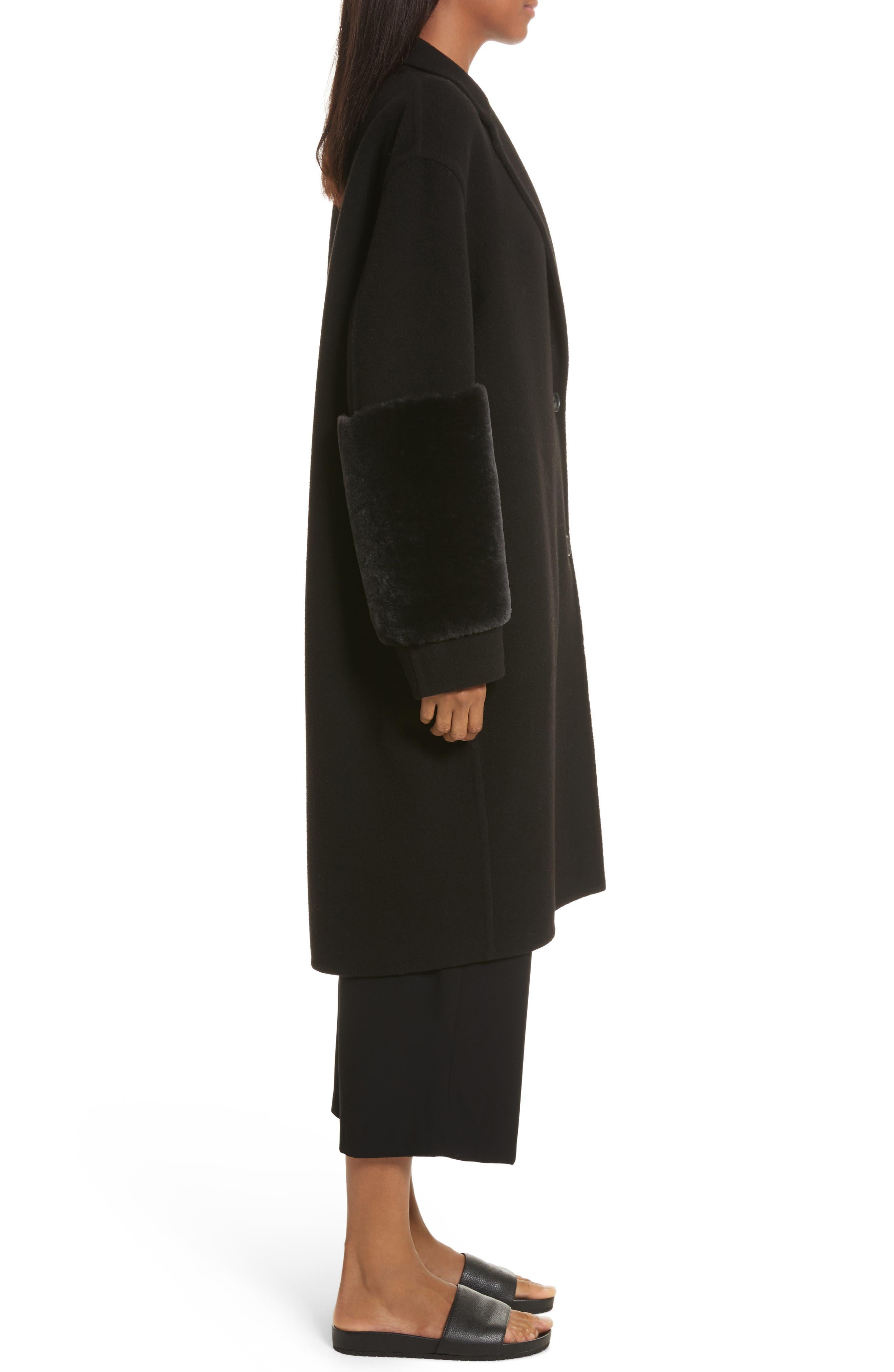 Genuine Shearling Trim Long Coat,                             Alternate thumbnail 3, color,                             Black