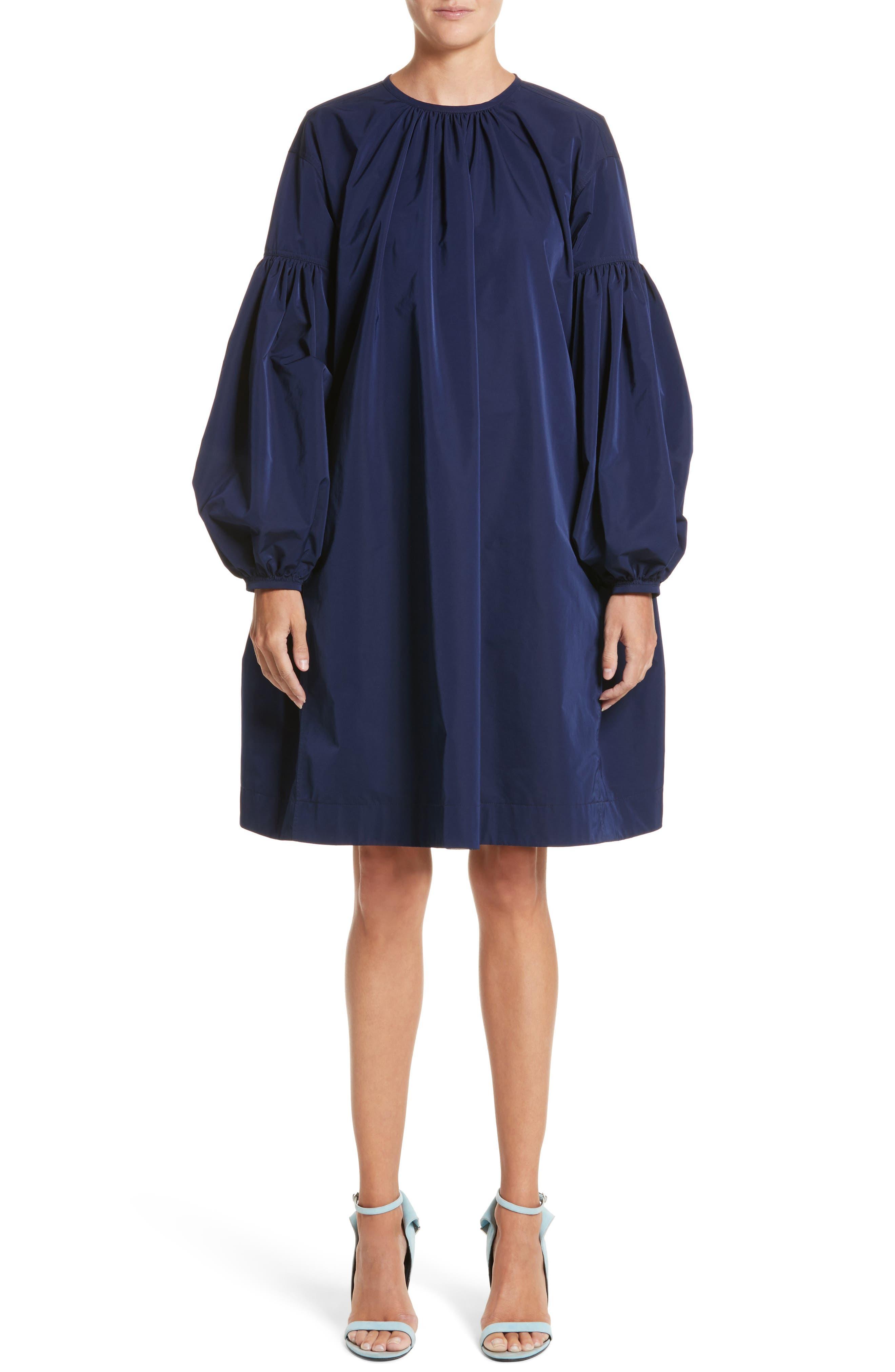 Ruched Sleeve Taffeta Dress,                         Main,                         color, Marine