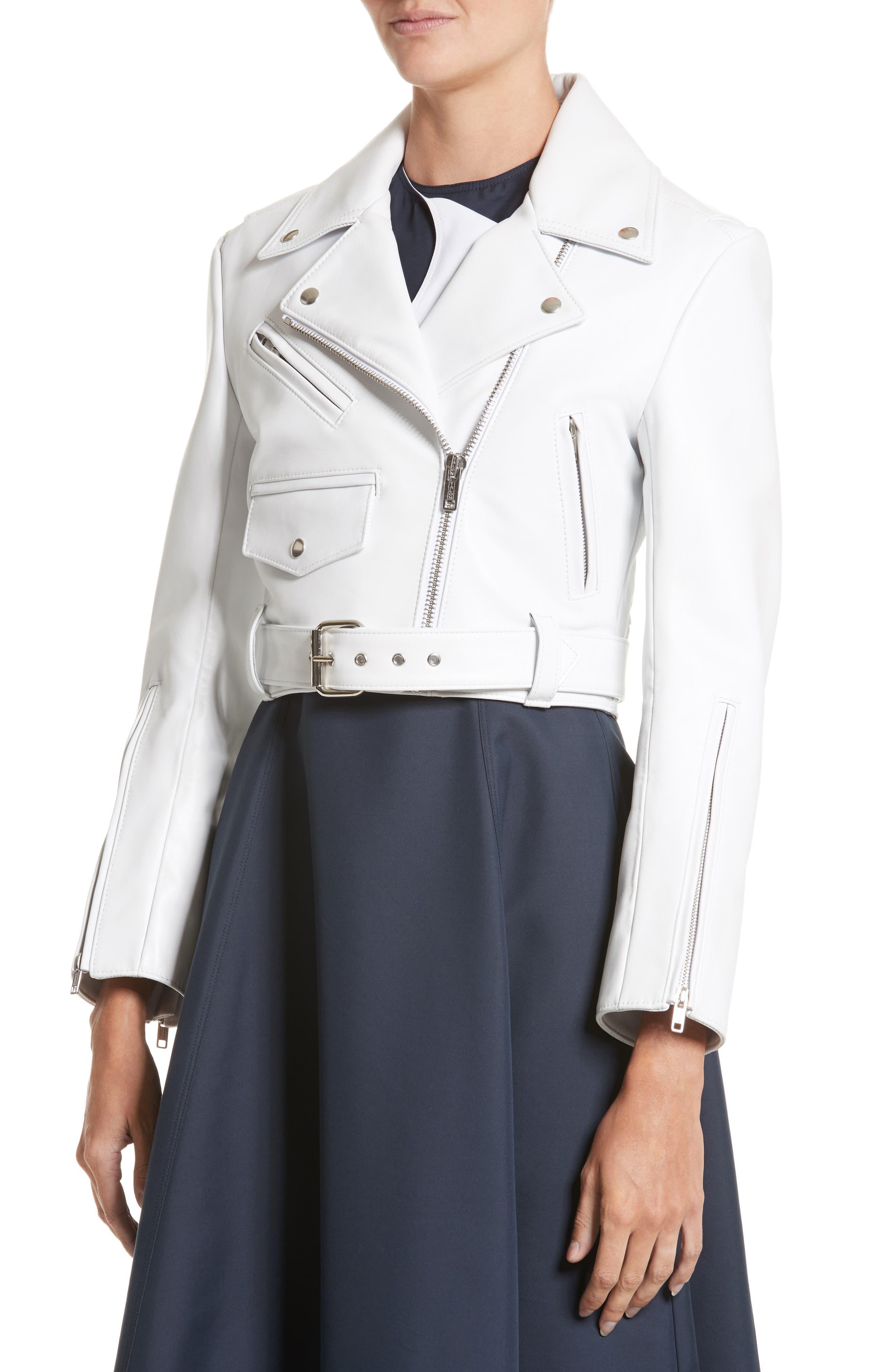 Plongé Leather Crop Moto Jacket,                             Alternate thumbnail 4, color,                             White