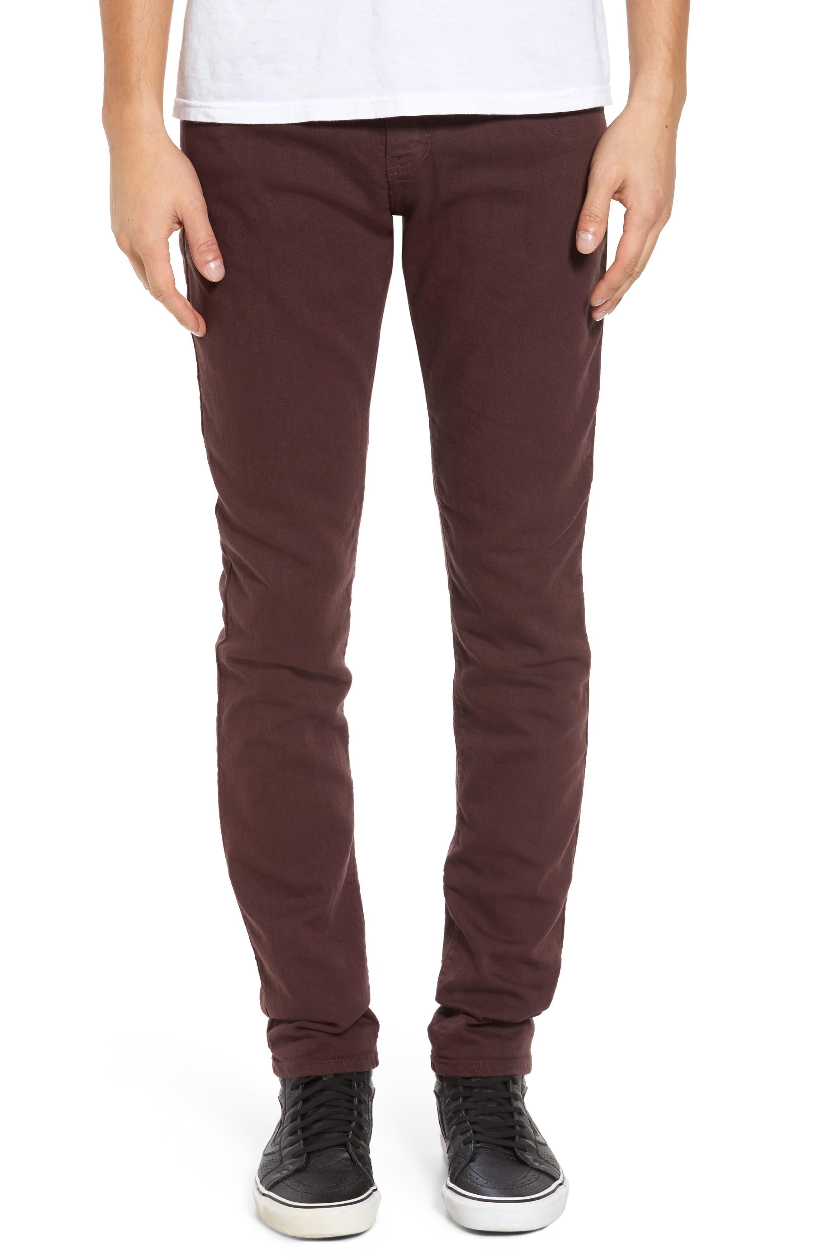 Raleigh Denim Martin Slouchy Skinny Fit Jeans (Stretch Walnut)