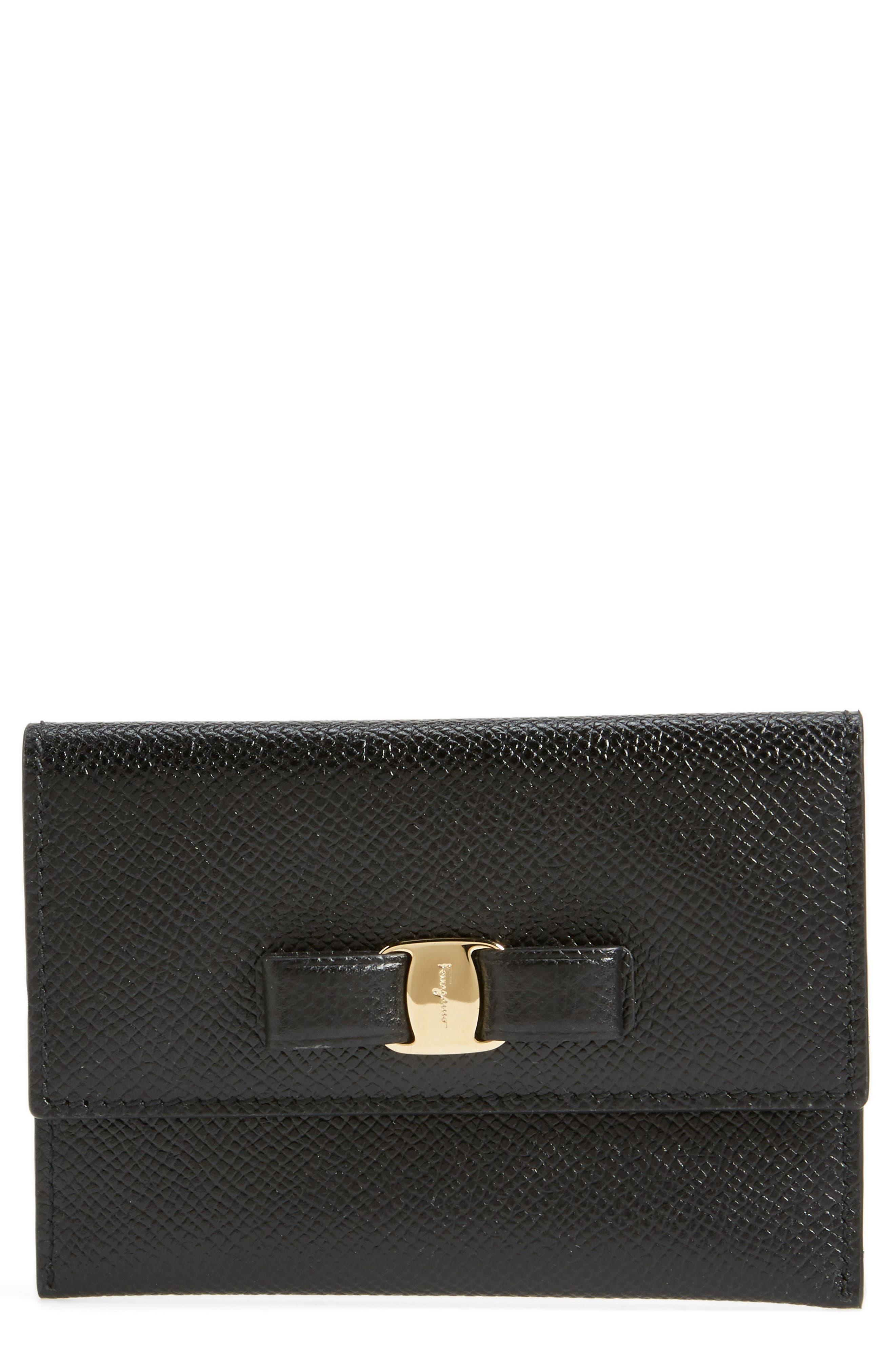 Vara Leather Card Case,                         Main,                         color, Nero