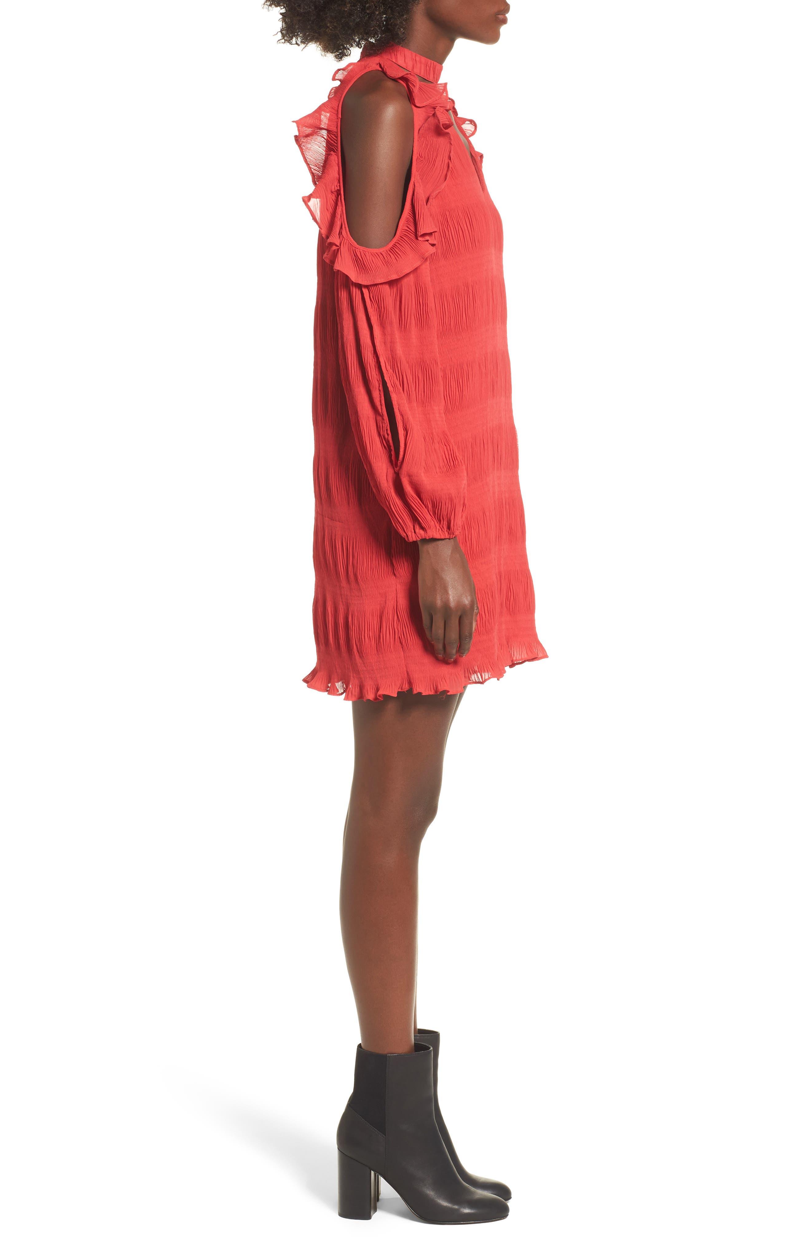 Hallie Cold Shoulder Dress,                             Alternate thumbnail 3, color,                             Dragon