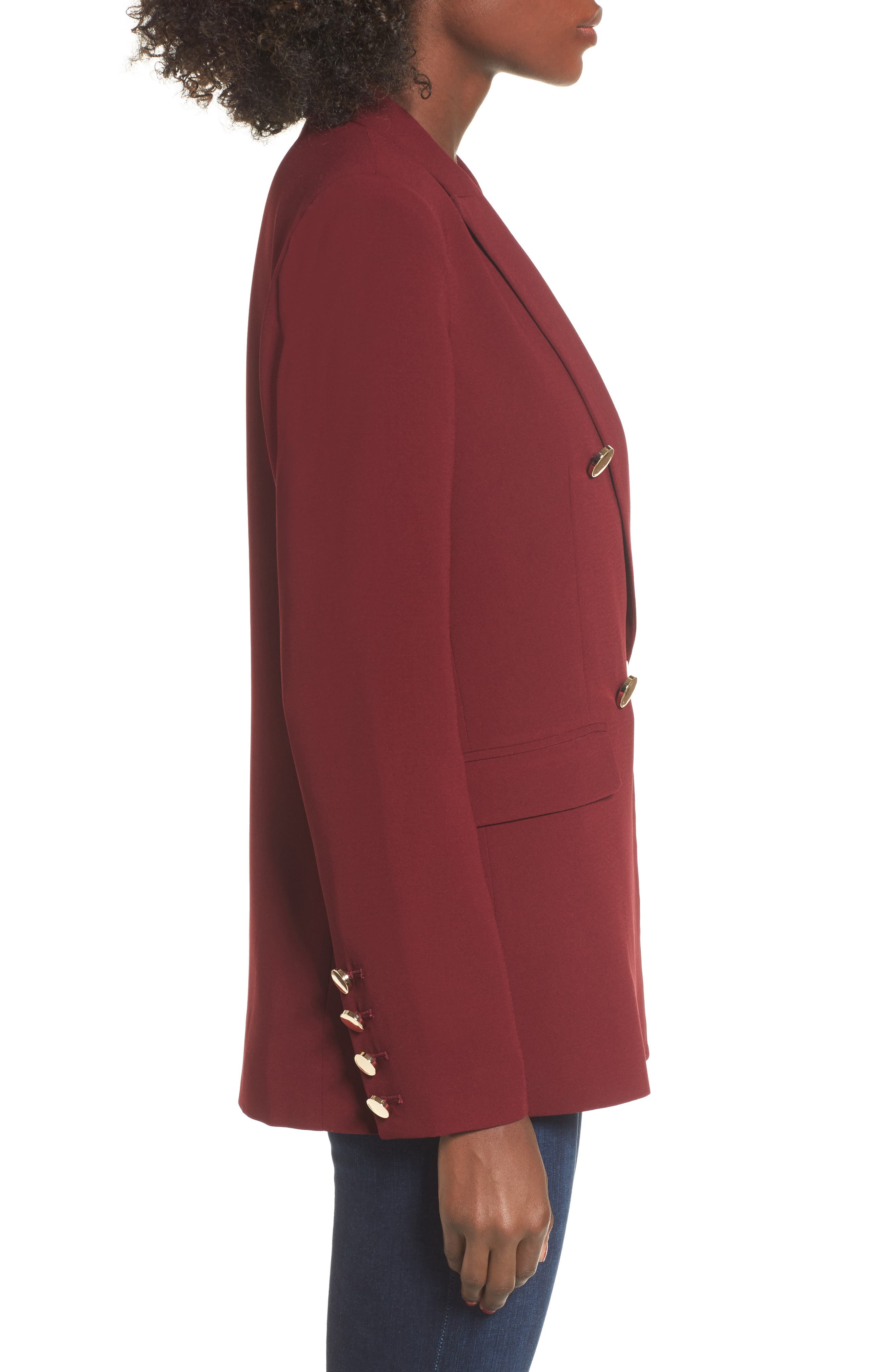 Oversize Double Breasted Blazer,                             Alternate thumbnail 3, color,                             Burgundy