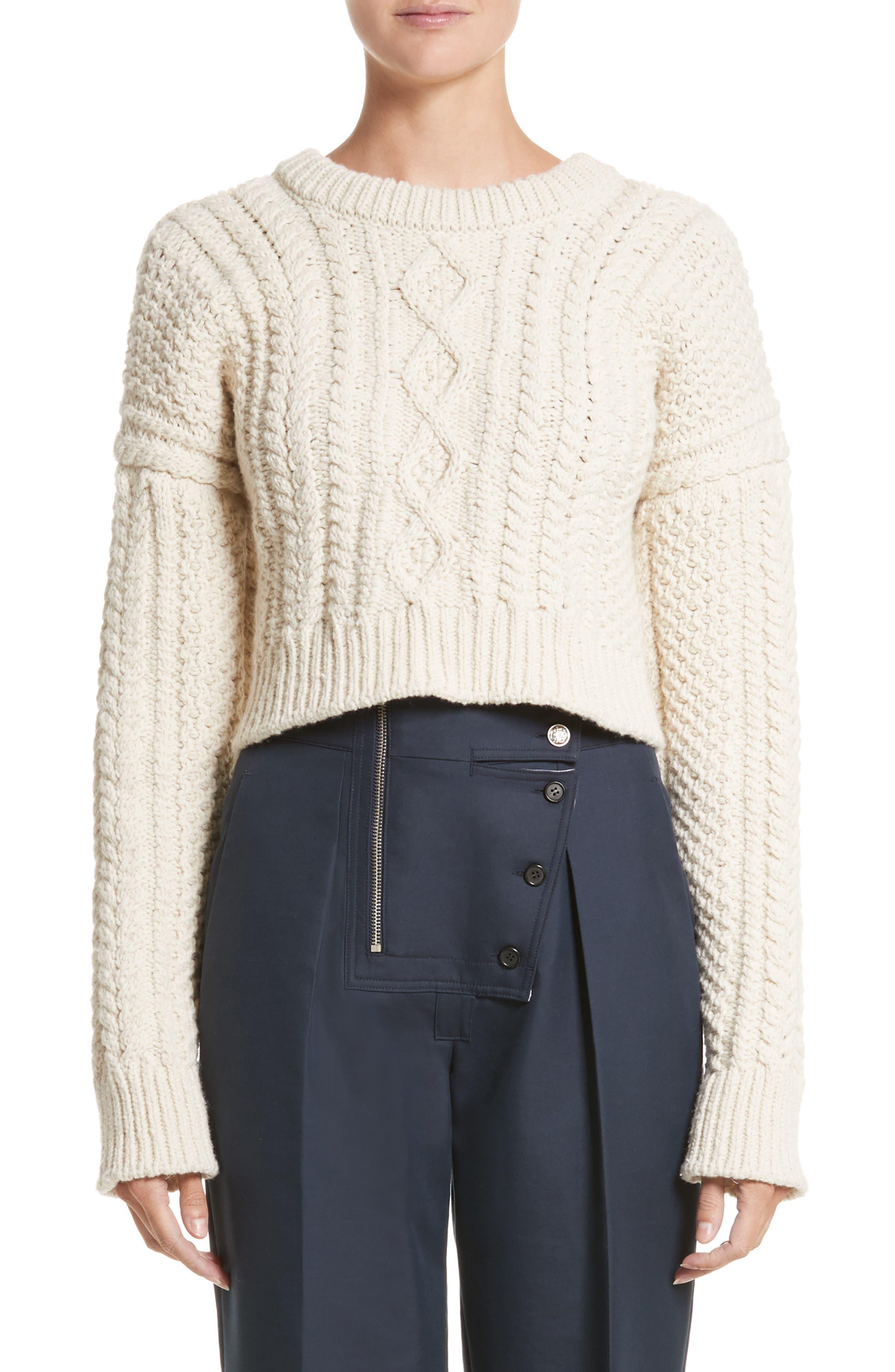 Back Strap Cable Knit Crop Sweater,                         Main,                         color, Off White