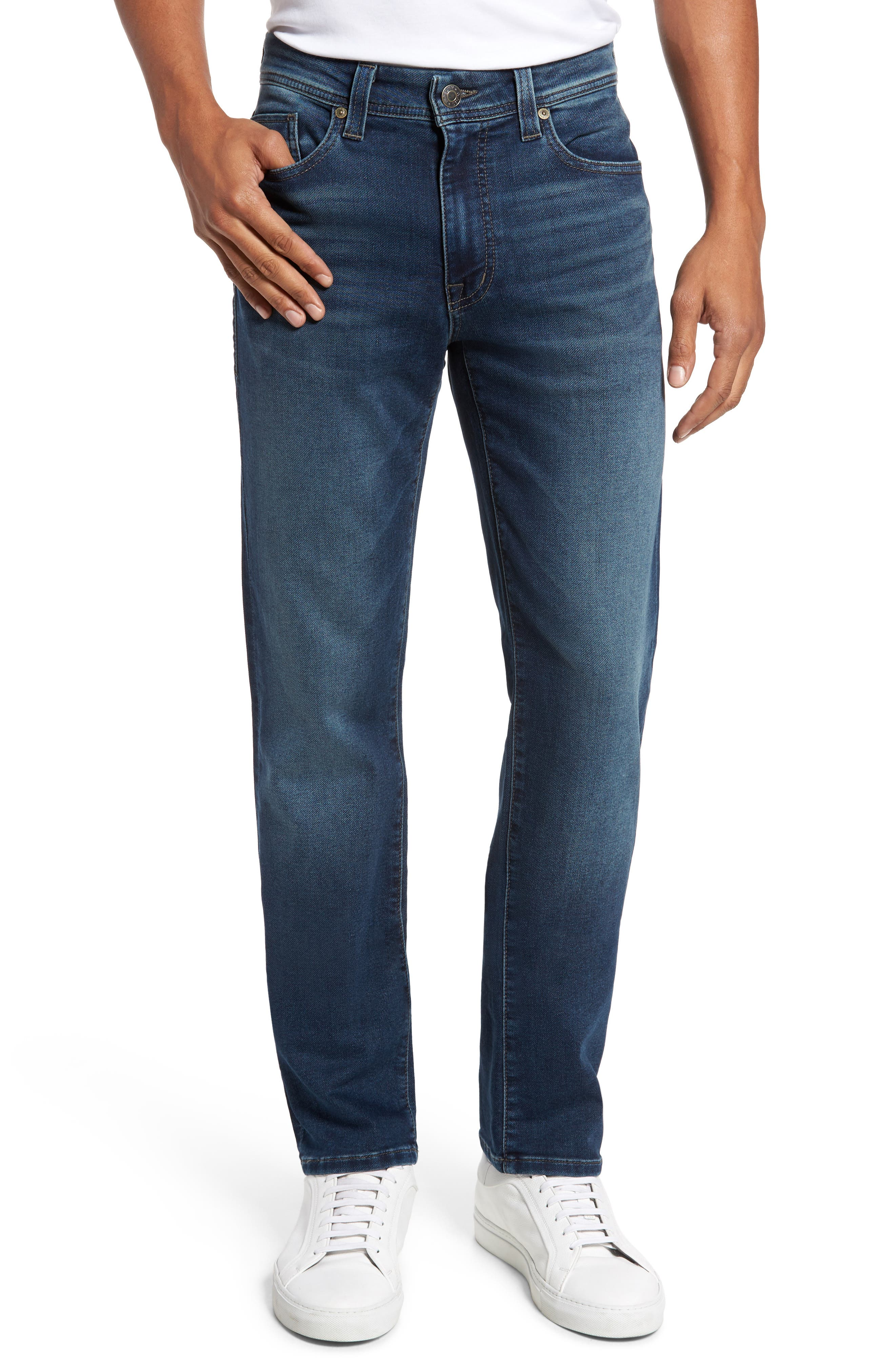 Jimmy Slim Straight Leg Jeans,                             Main thumbnail 1, color,                             Talk About Blue