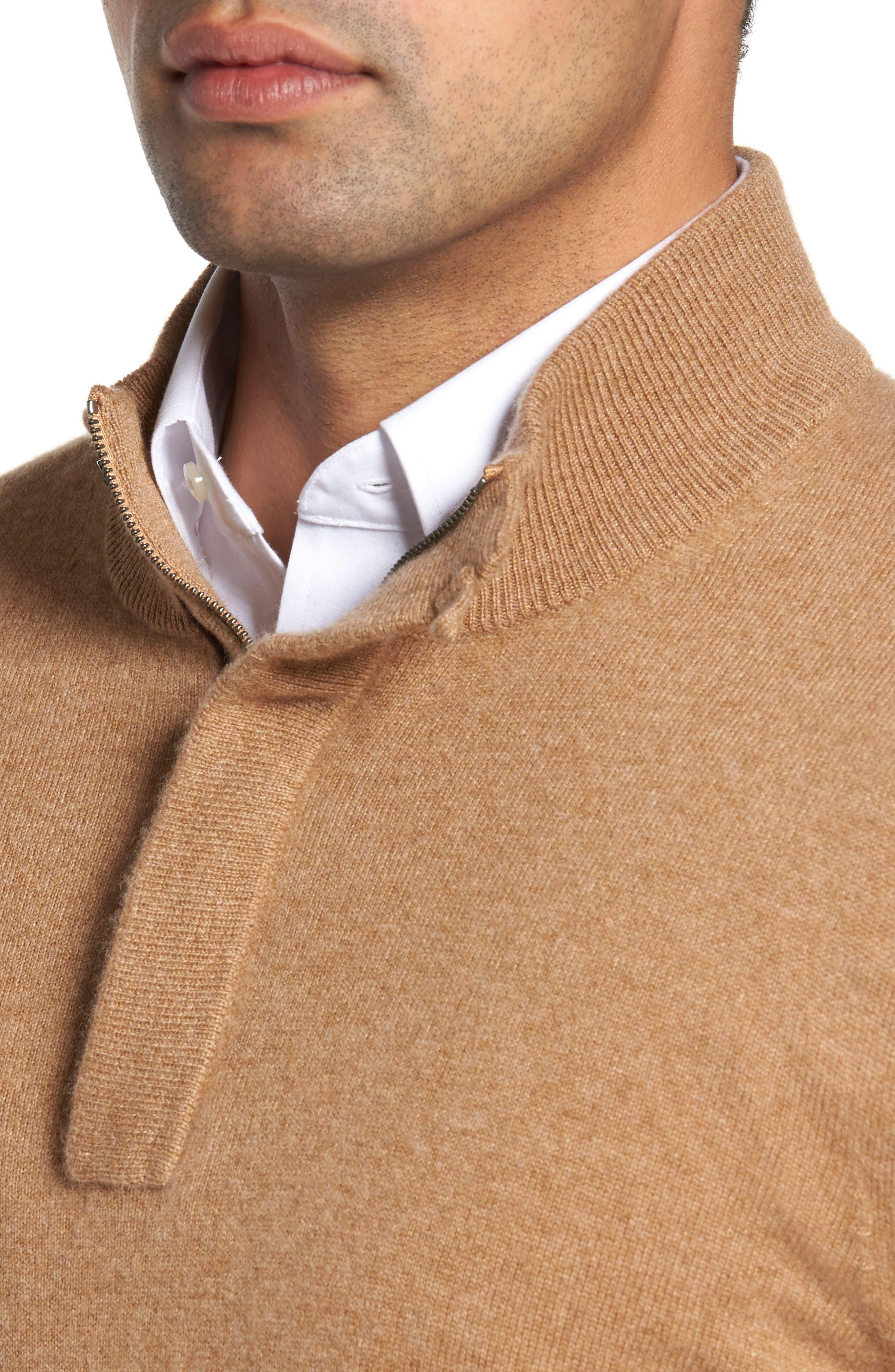 Cashmere Quarter Zip Sweater,                             Alternate thumbnail 4, color,                             Brown Bear