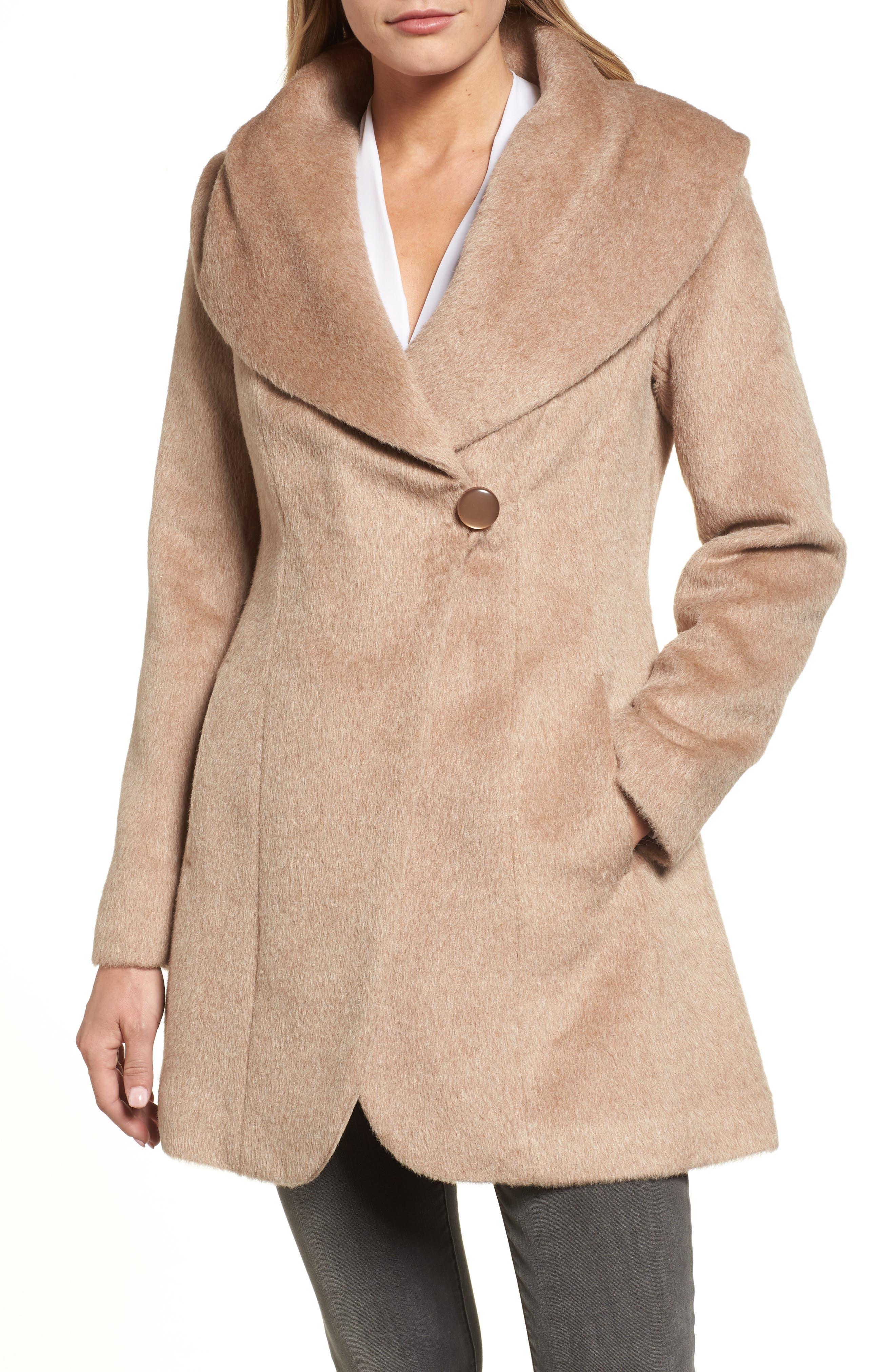 Jemma Shawl Collar Coat,                             Main thumbnail 1, color,                             Fawn