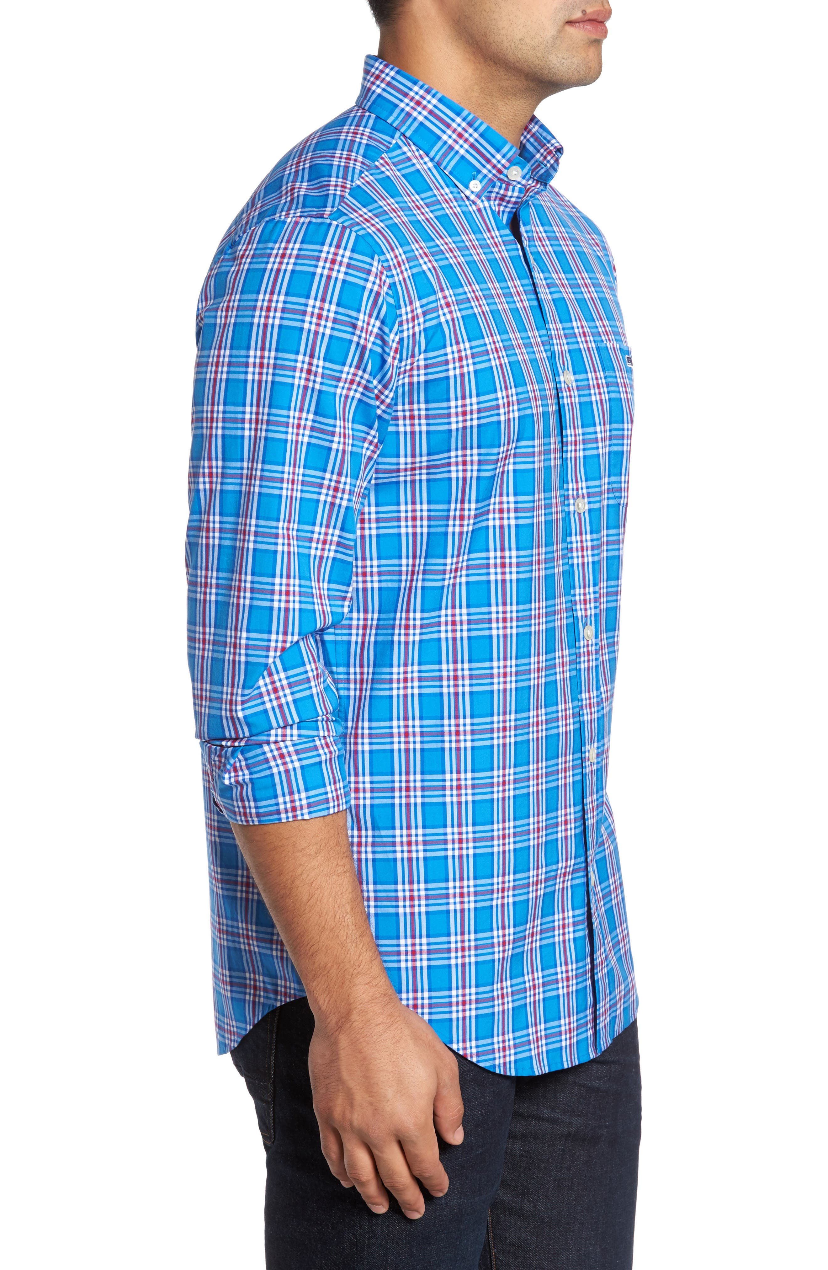 Tucker Chandler Pond Classic Fit Plaid Sport Shirt,                             Alternate thumbnail 3, color,                             Hull Blue