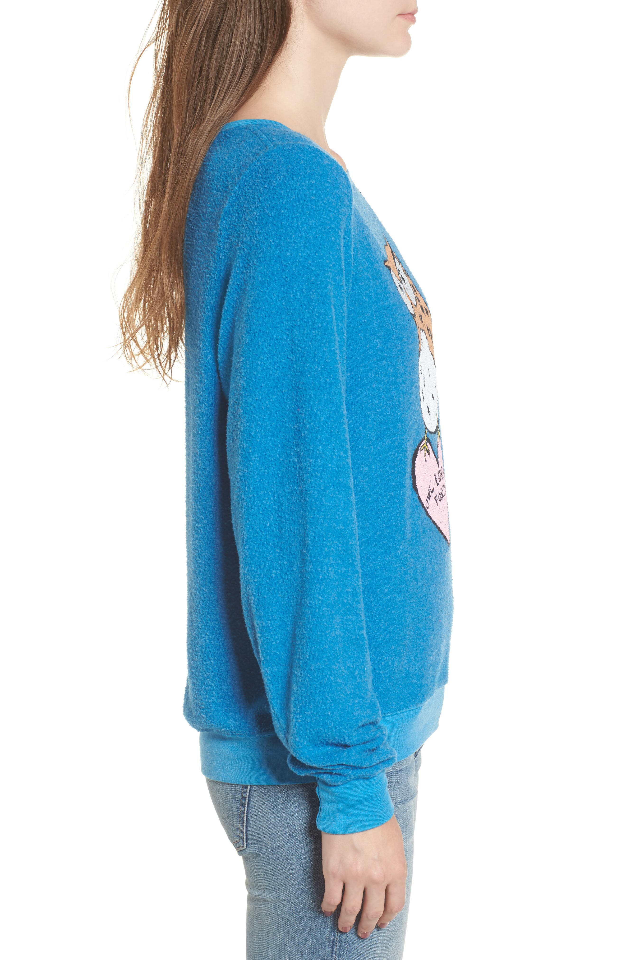 Owl Love You Forever Sweatshirt,                             Alternate thumbnail 3, color,                             Cobalt Sea