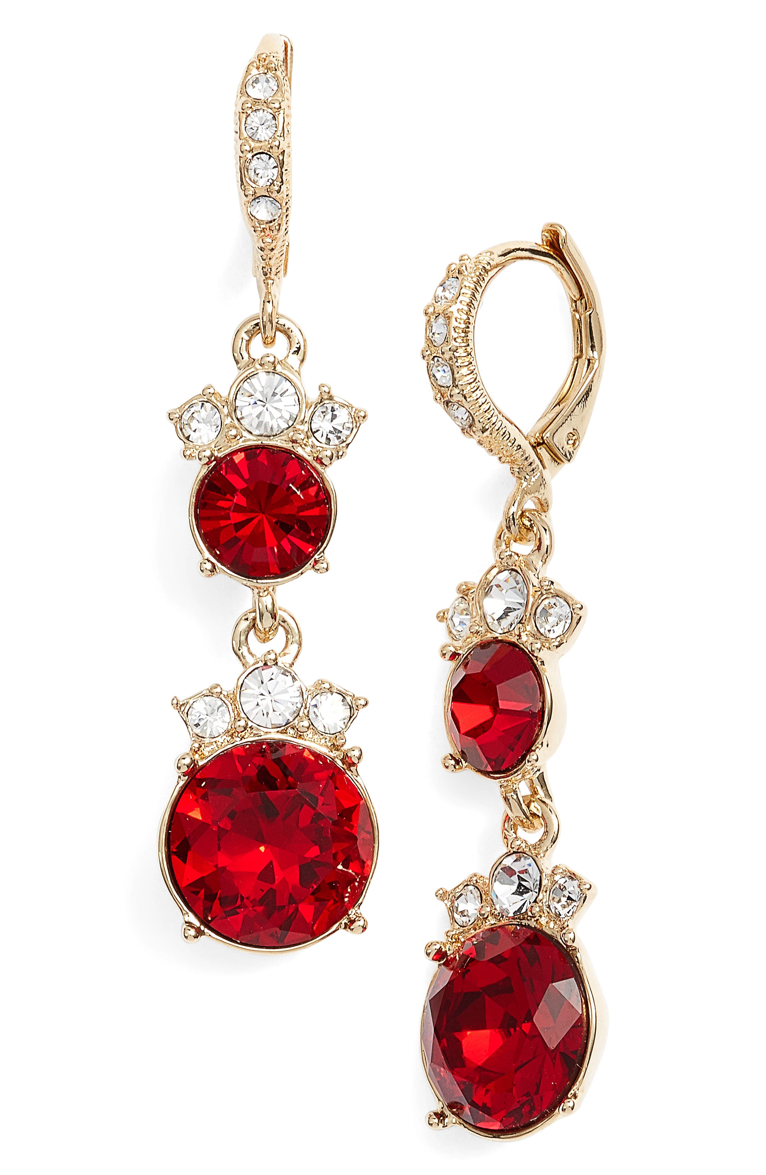 Crystal Drop Earrings,                             Main thumbnail 1, color,                             Red/ Gold