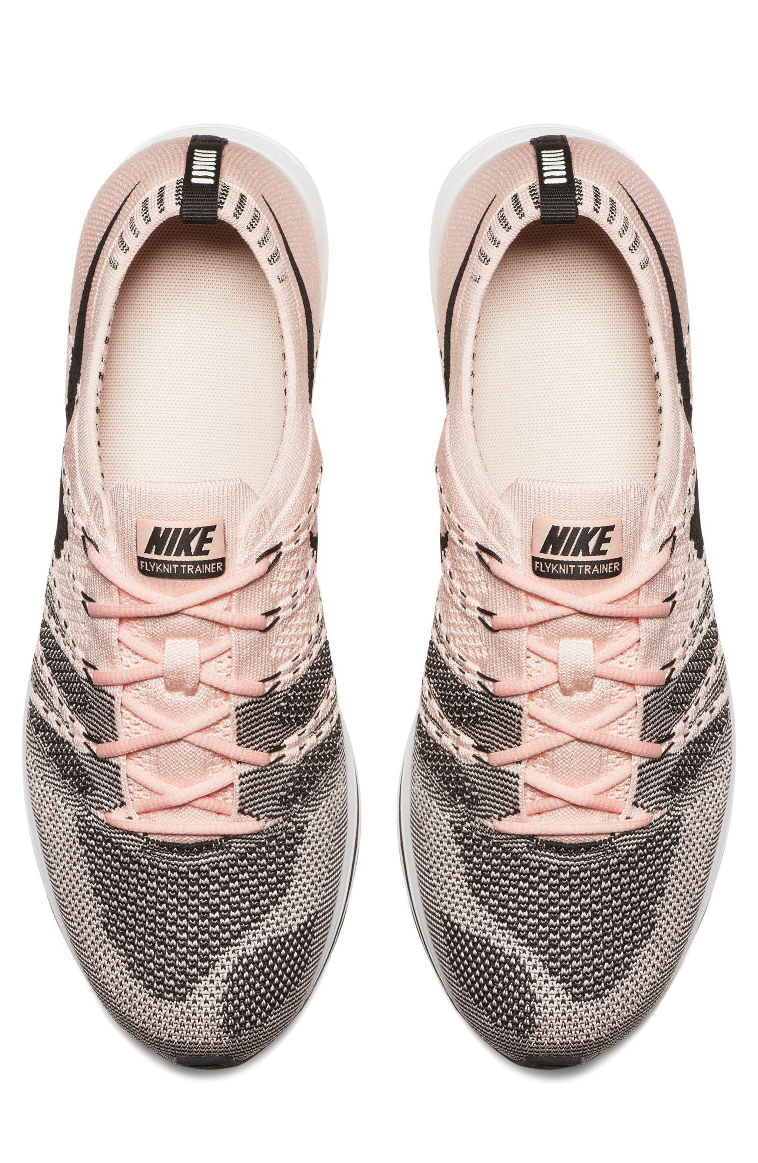NikeLab Flyknit Trainer Sneaker,                             Alternate thumbnail 4, color,                             Sunset Tint/Black-White