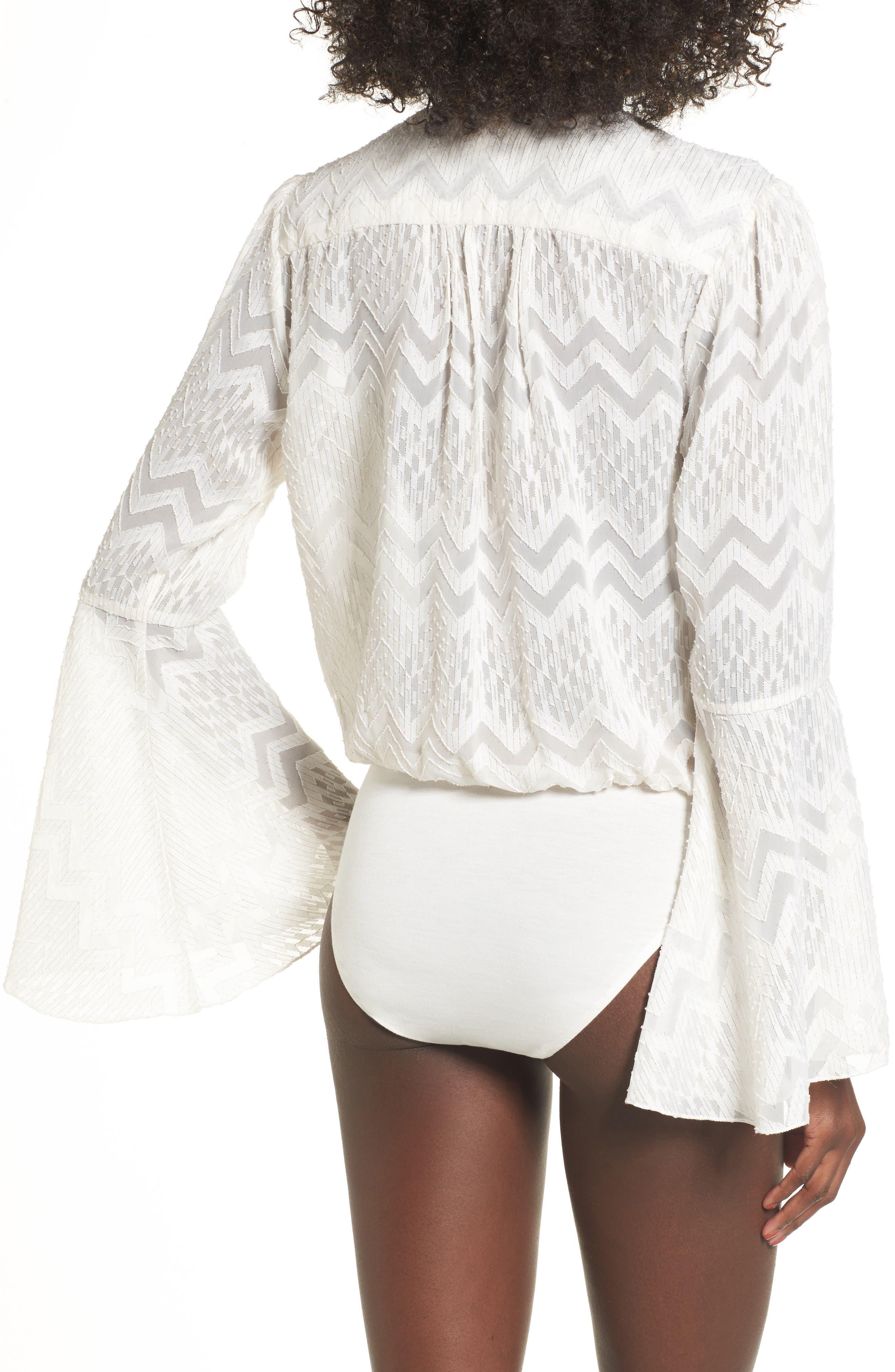 Christi Bell Sleeve Bodysuit,                             Alternate thumbnail 2, color,                             Ivory Clip