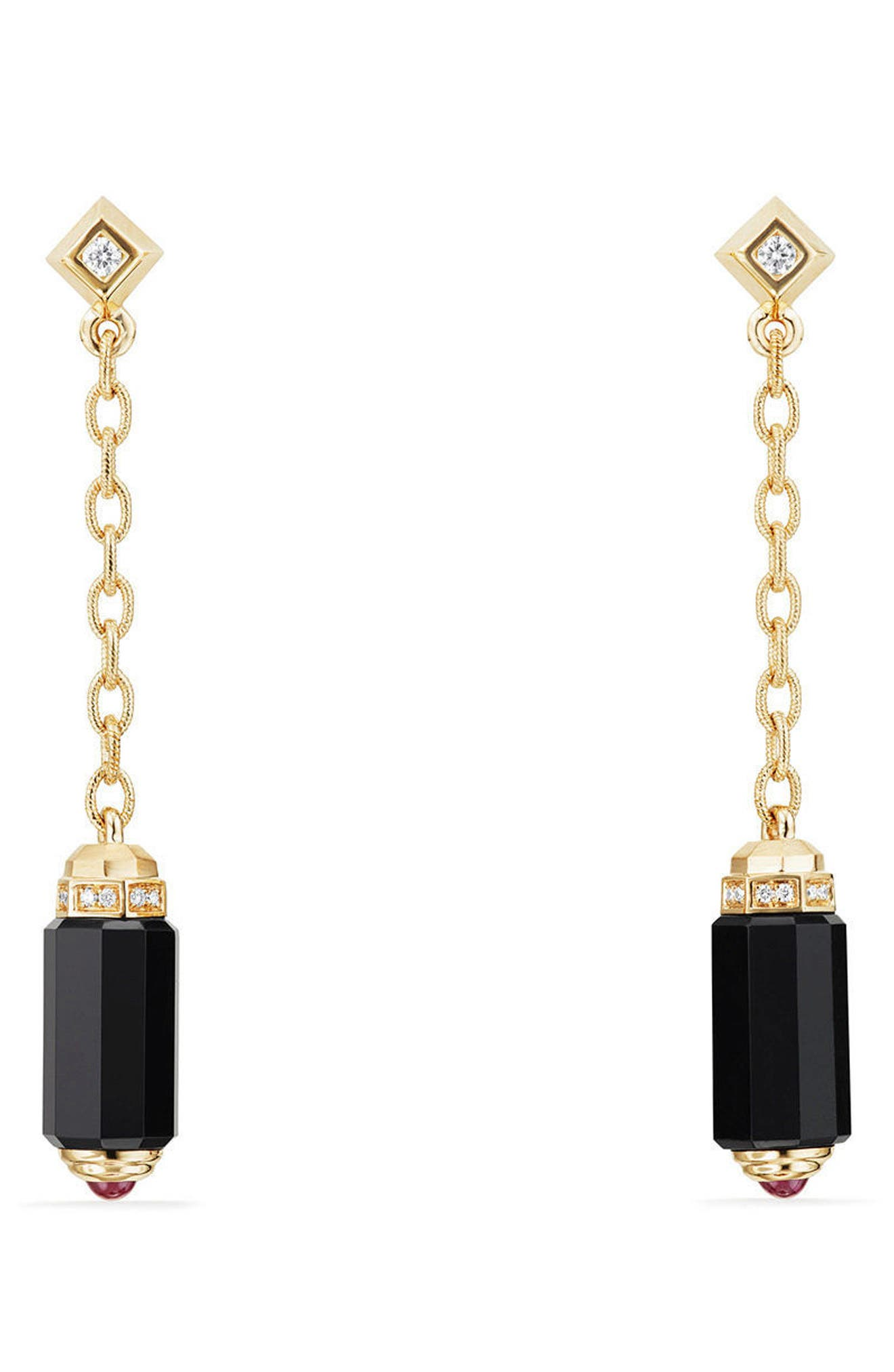 David Yurman Barrels Chain Drop Earrings with Diamonds in 18K Gold