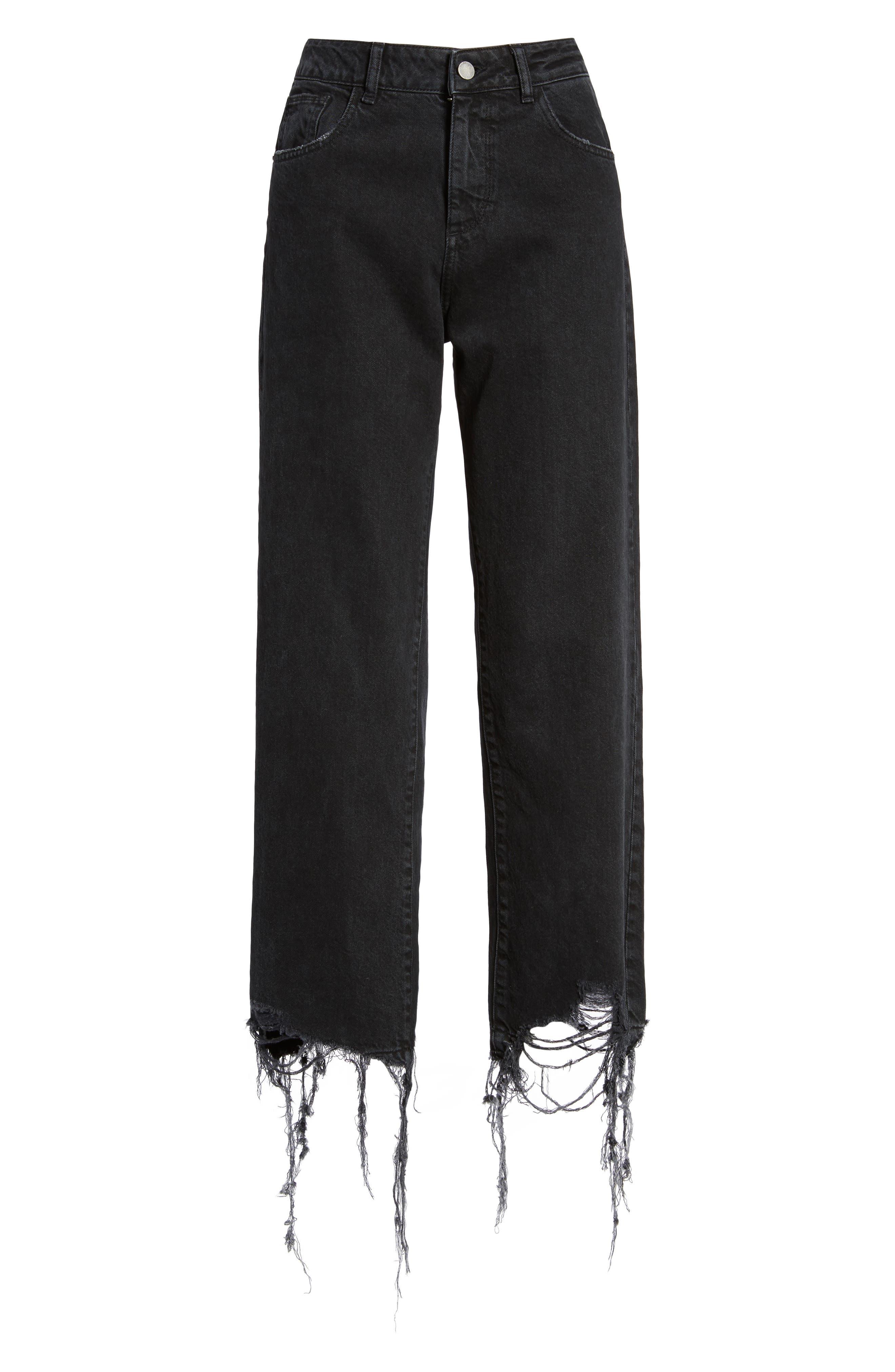 Hepburn High Waist Wide Leg Jeans,                             Alternate thumbnail 6, color,                             Savannah Destroy
