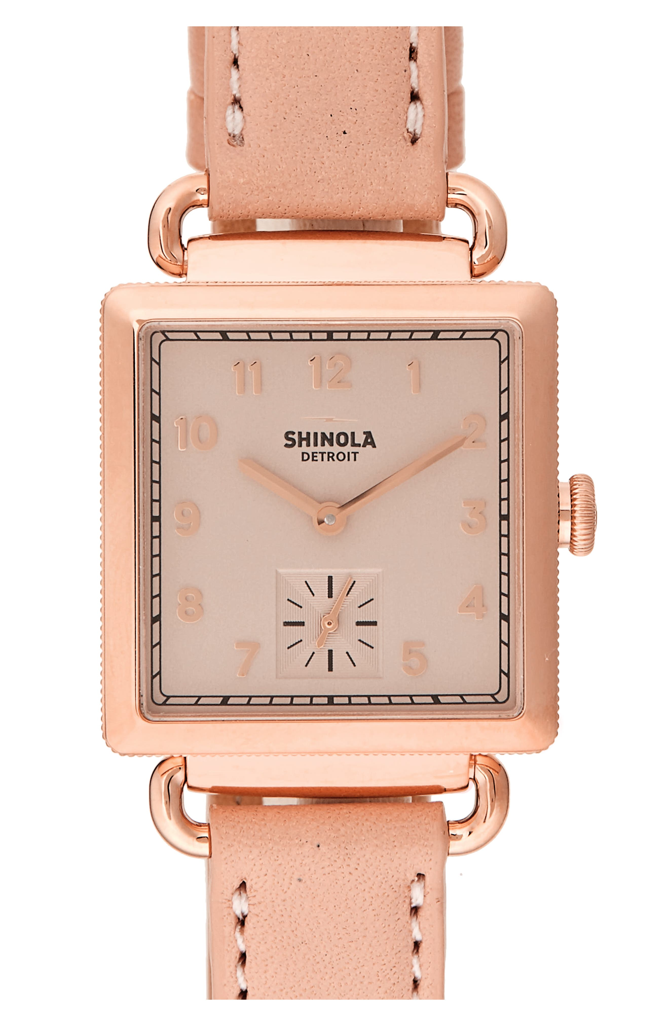 720c632628c Shinola The Cass Pvd Rose Gold   Leather Strap Watch In Nude  Gold ...