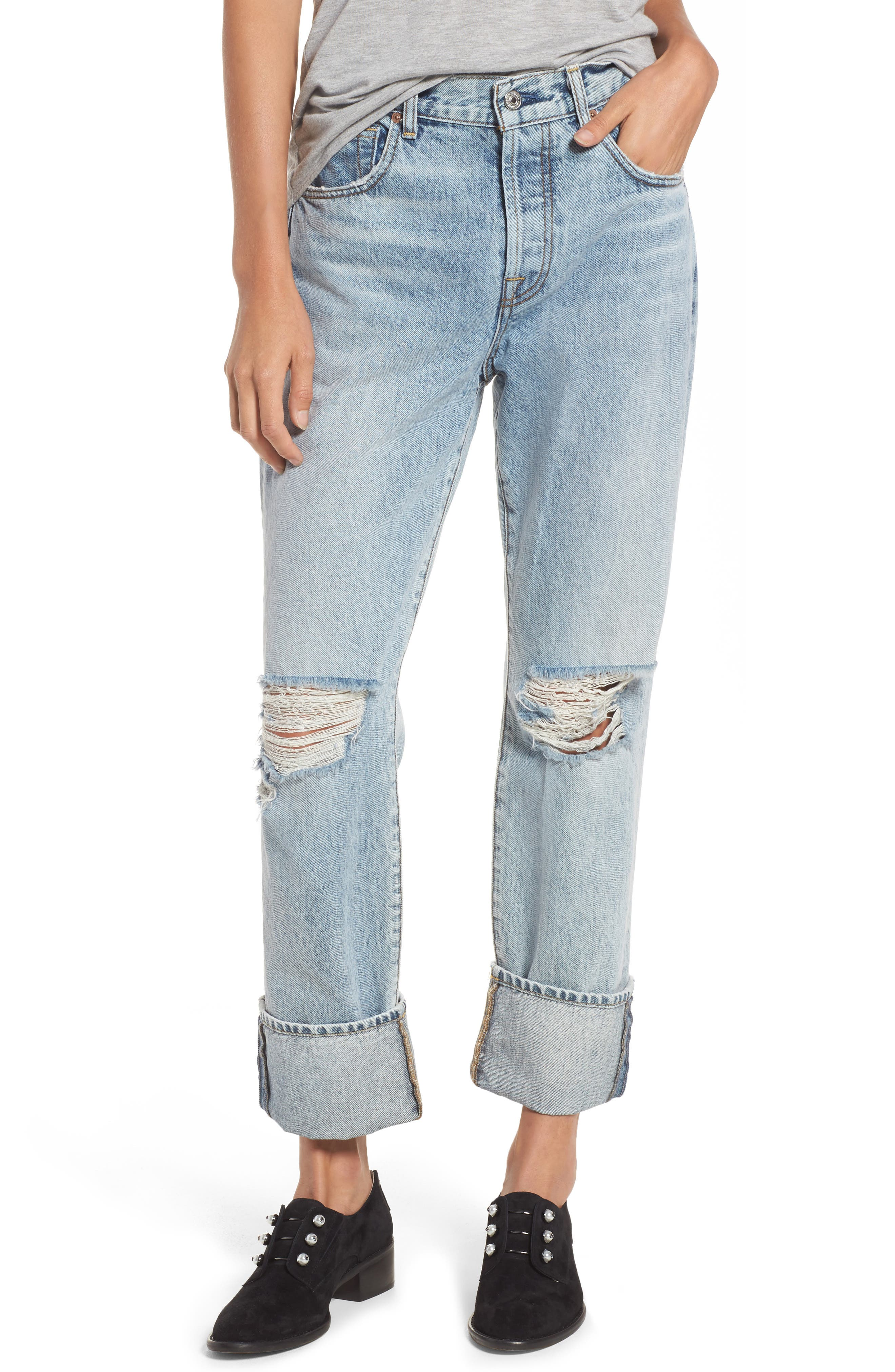 Rickie High Waist Boyfriend Jeans,                             Main thumbnail 1, color,                             Mineral Desert Springs 3