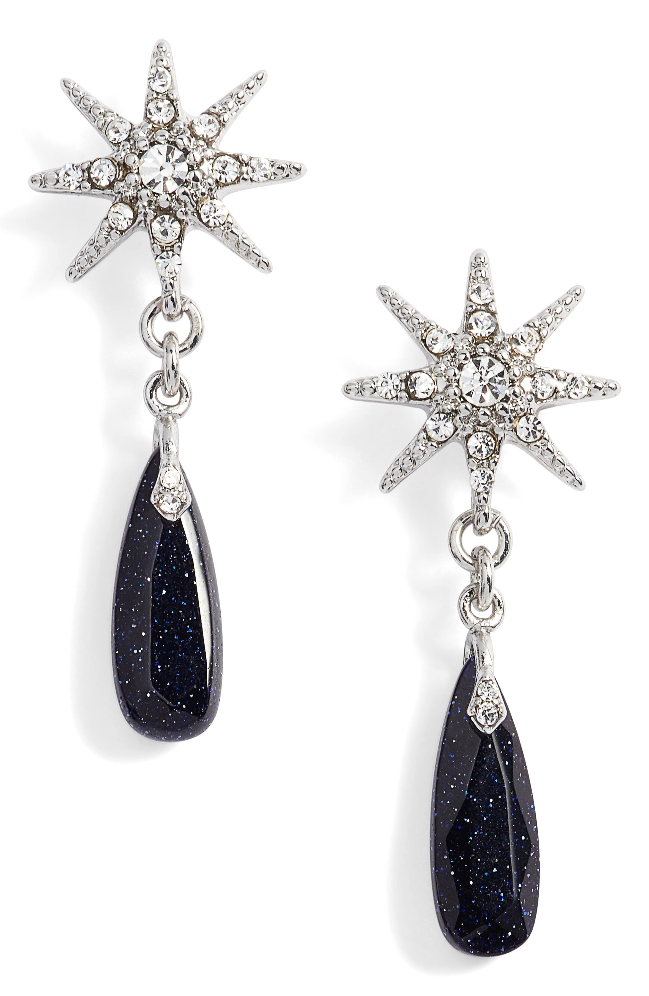 Imitation Pearl Drop Earrings,                             Main thumbnail 1, color,                             Silver/ Cry/ Blue