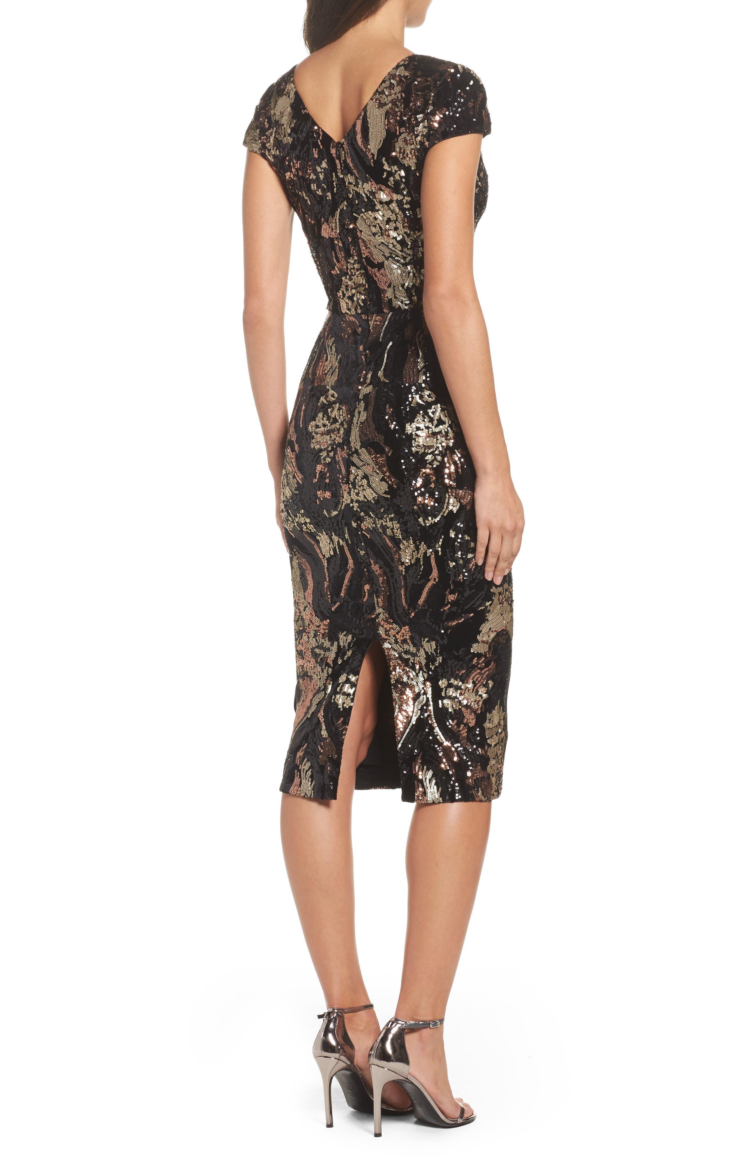 Allison Sequin Velvet Body-Con Dress,                             Alternate thumbnail 3, color,                             Black/ Bronze