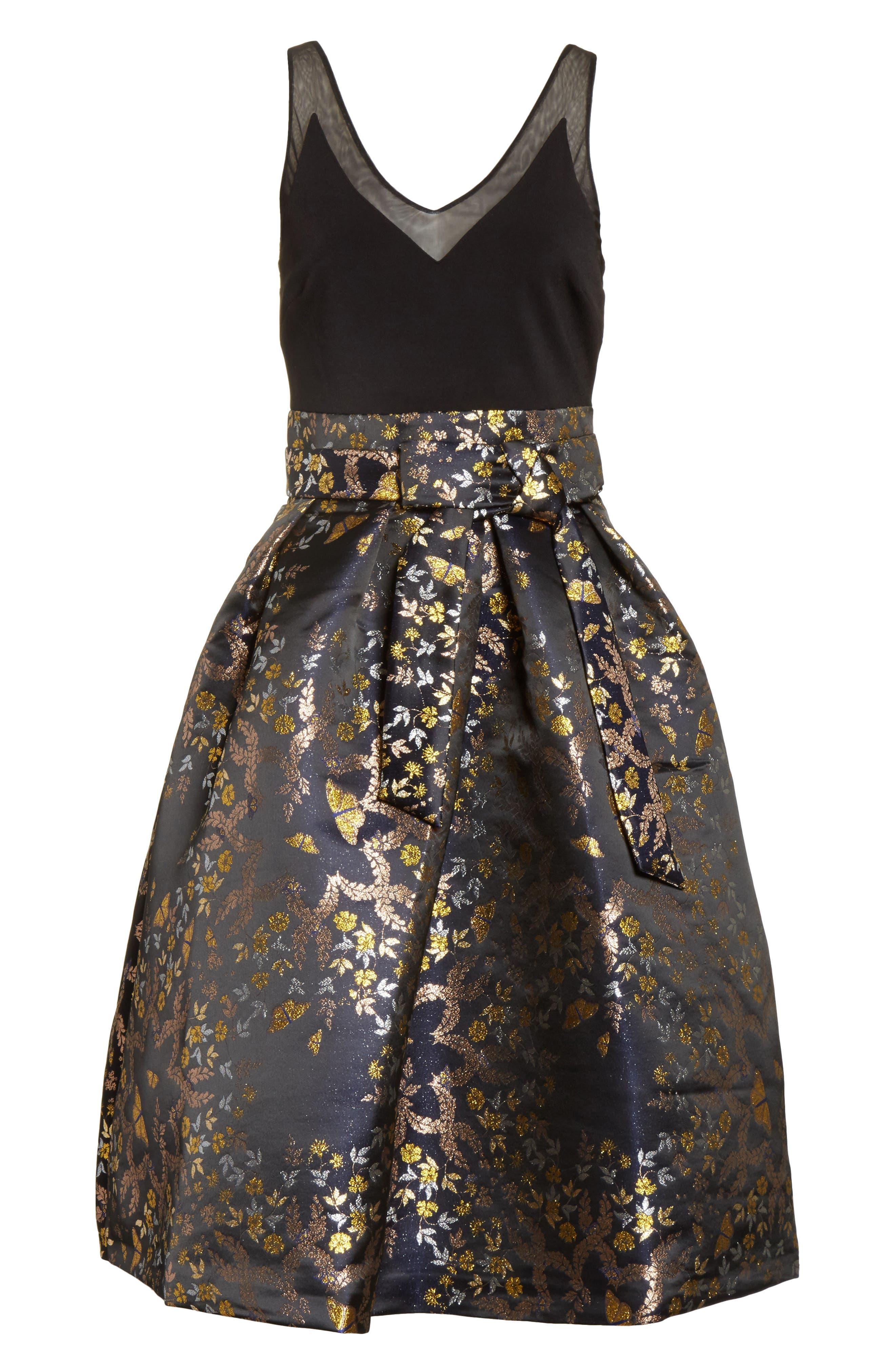 Dotalle Kyoto Garden Jacquard Midi Dress,                             Alternate thumbnail 6, color,                             Black