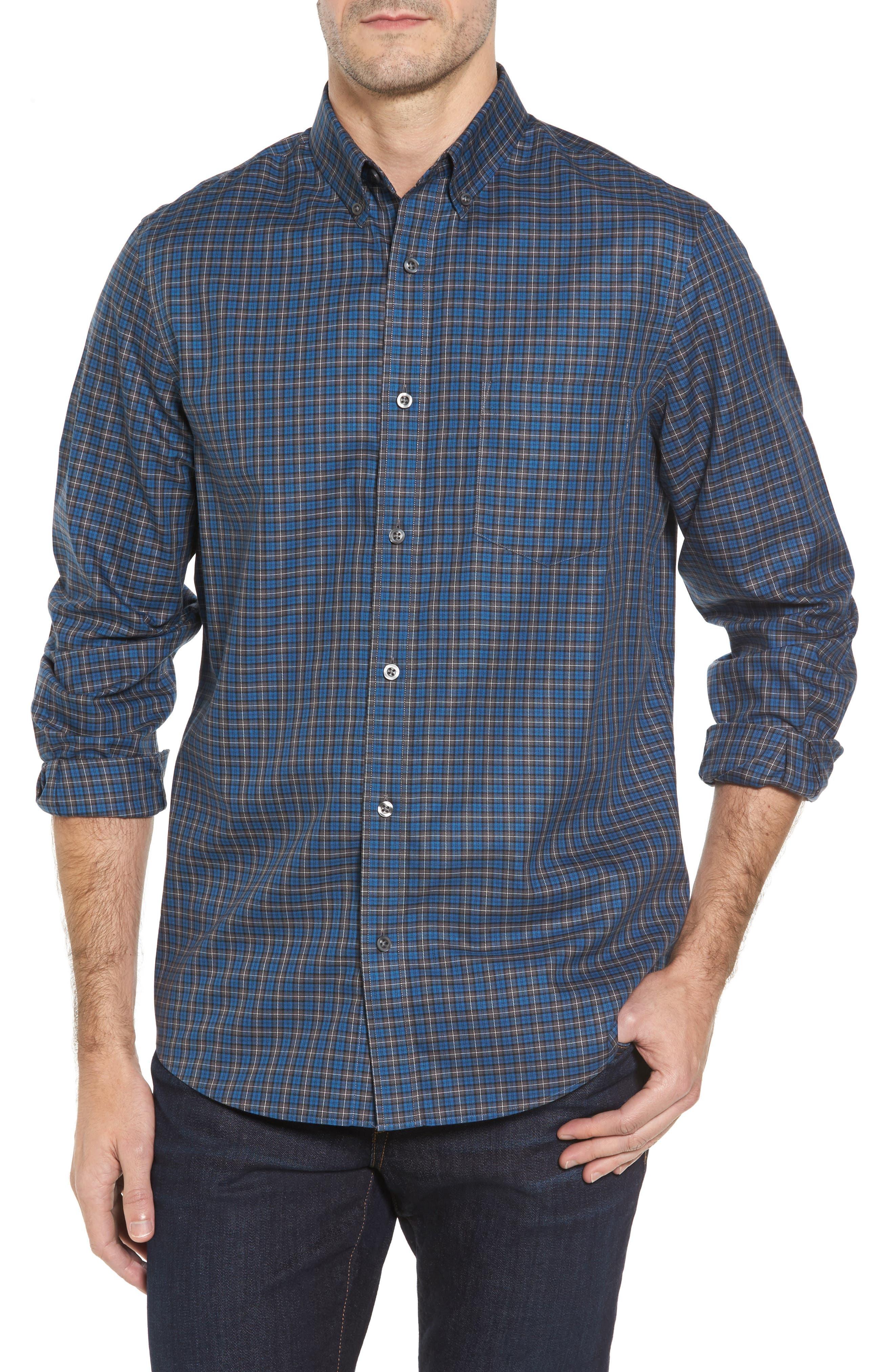 Main Image - Nordstrom Men's Shop Smartcare™ Regular Fit Plaid Sport Shirt