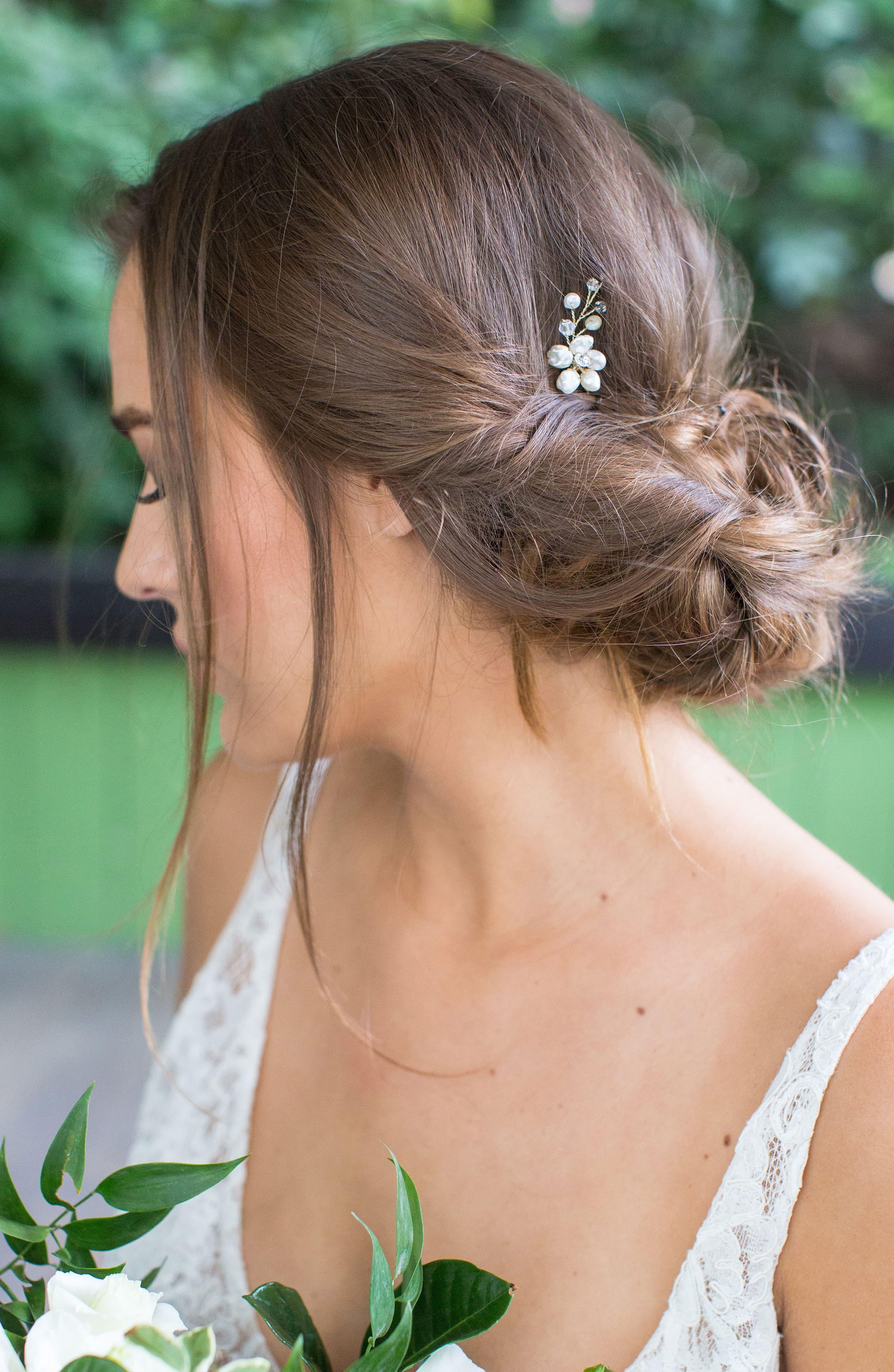 Alternate Image 2  - Brides & Hairpins Nahla Pearl & Crystal Flower Pin
