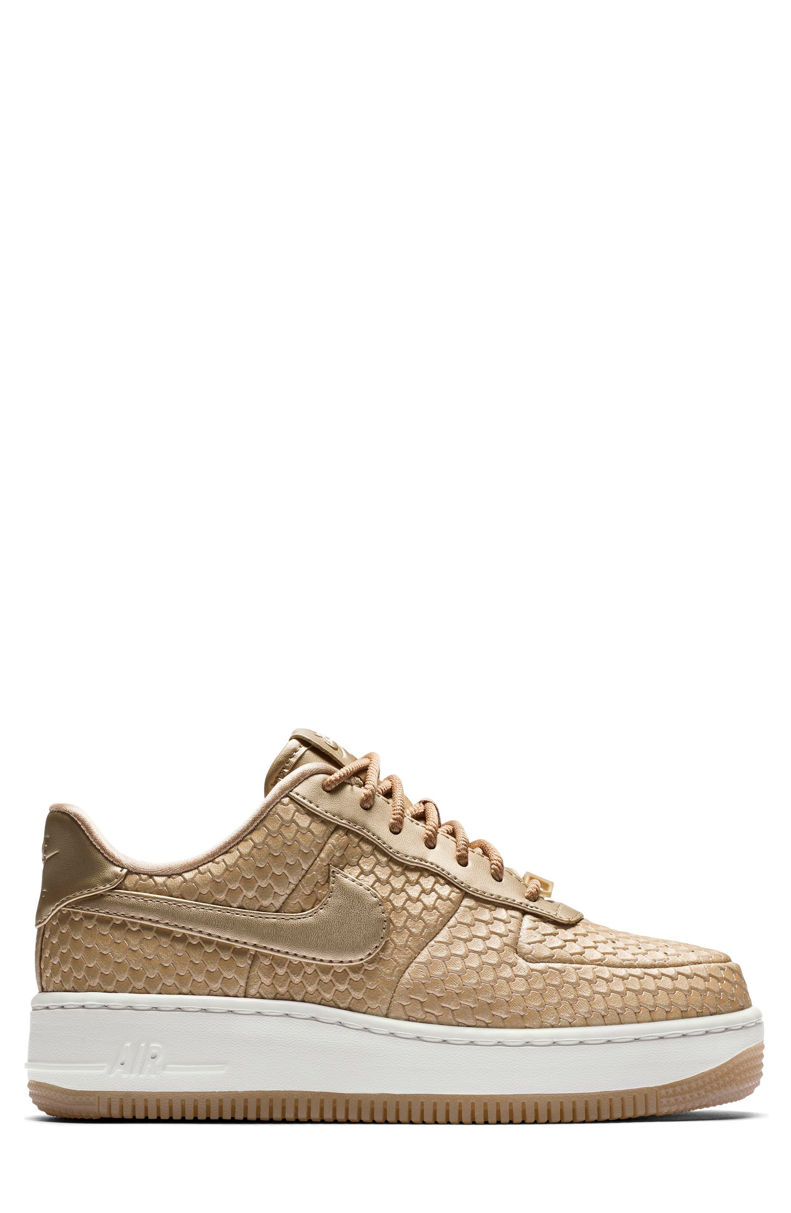 Air Force 1 Upstep Premium Platform Sneaker,                             Alternate thumbnail 5, color,                             Blur/ Blur/ Summit White