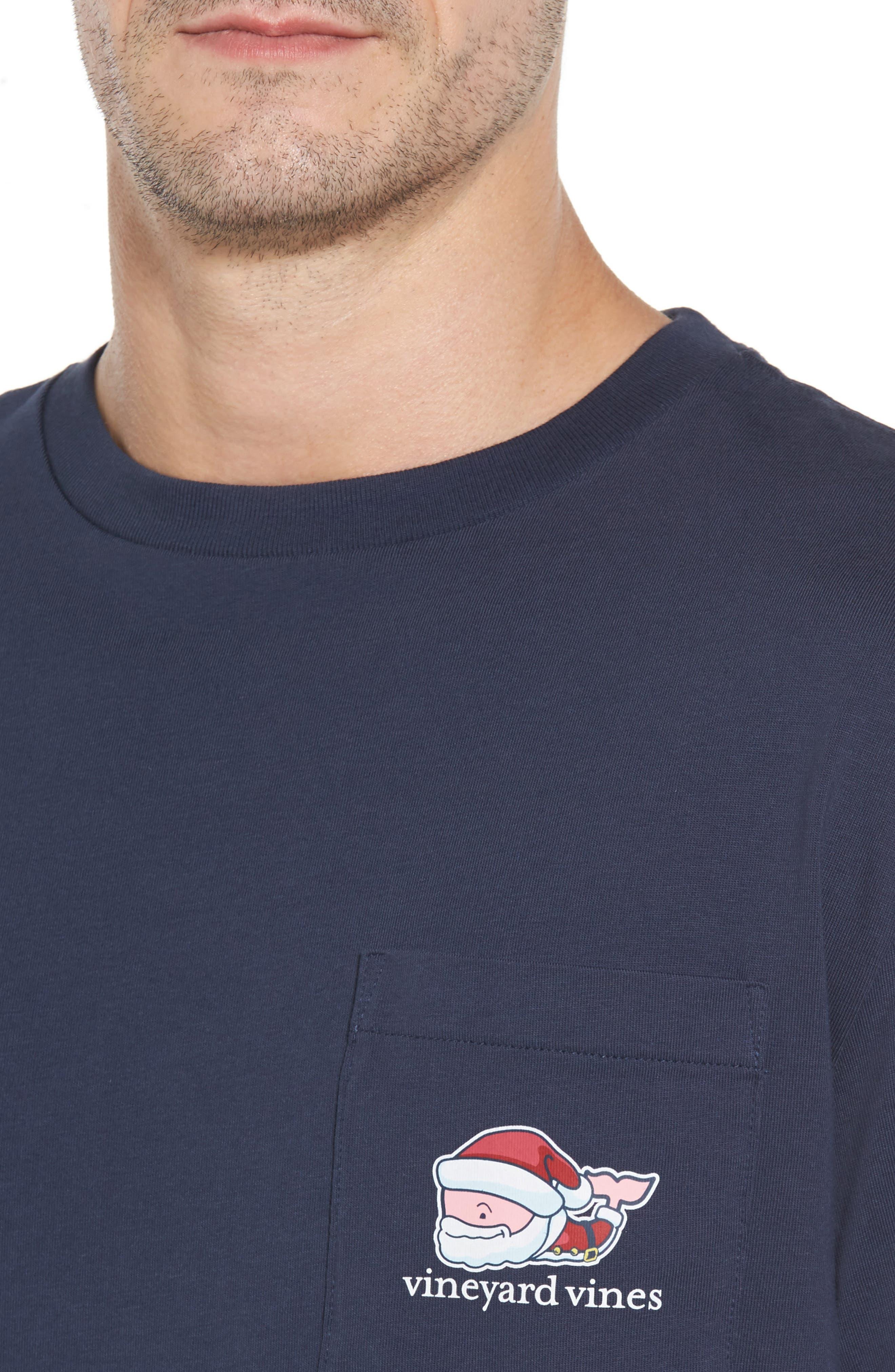 Mr. Claus Whale Graphic Pocket T-Shirt,                             Alternate thumbnail 4, color,                             Blue Blazer