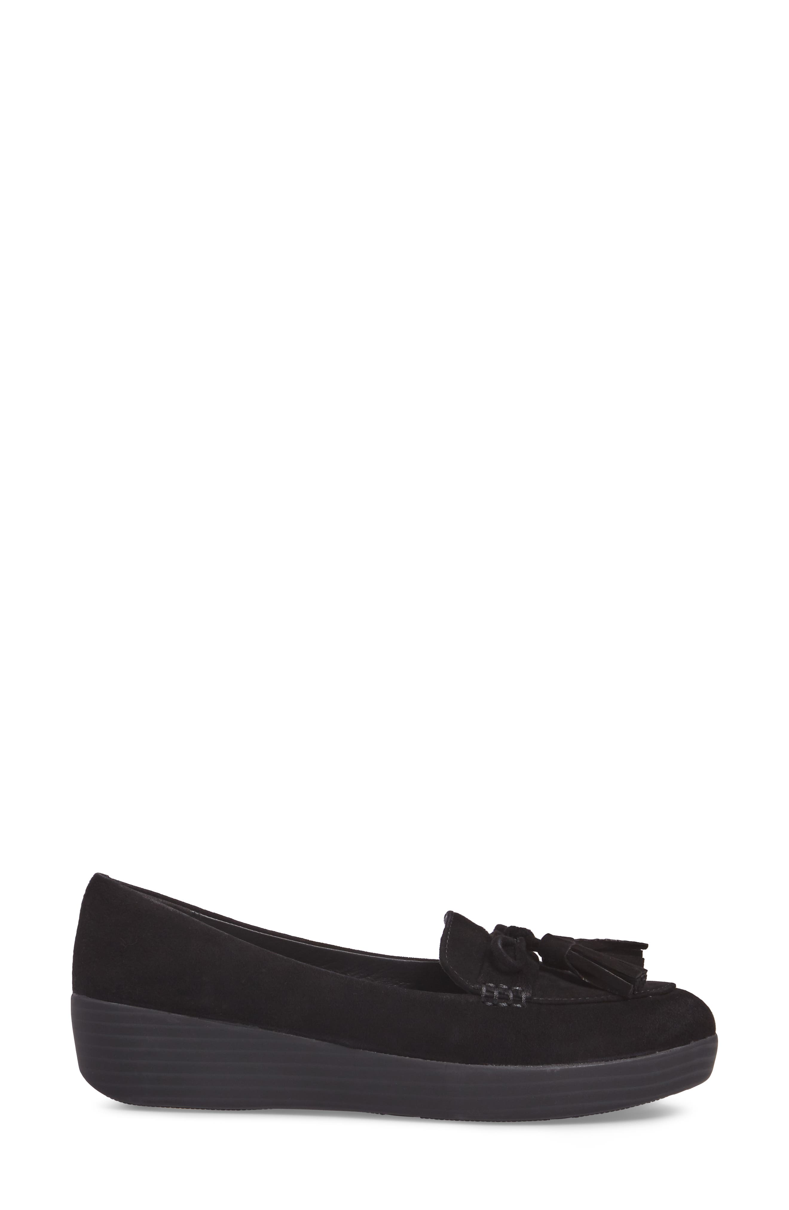 Tassel Bow Sneakerloafer<sup>™</sup> Water Repellent Flat,                             Alternate thumbnail 3, color,                             All Black