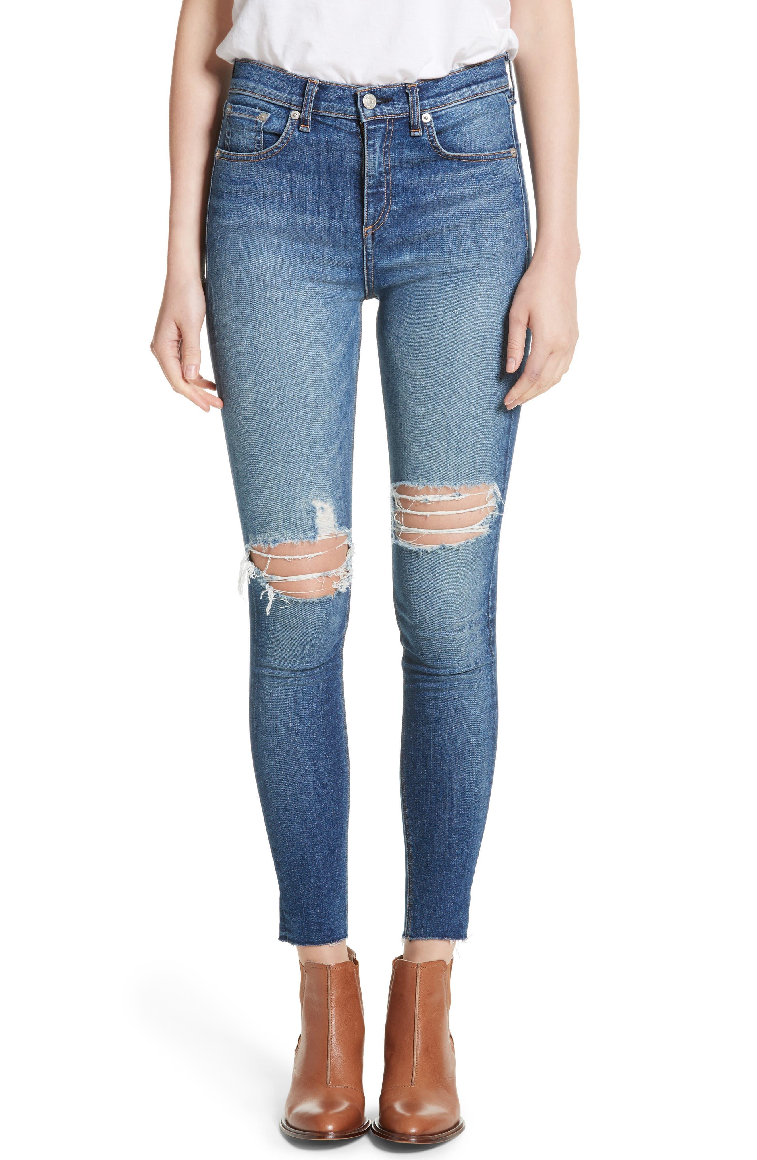 Main Image - rag & bone/JEAN Ripped High Waist Skinny Jeans (Bonnie)