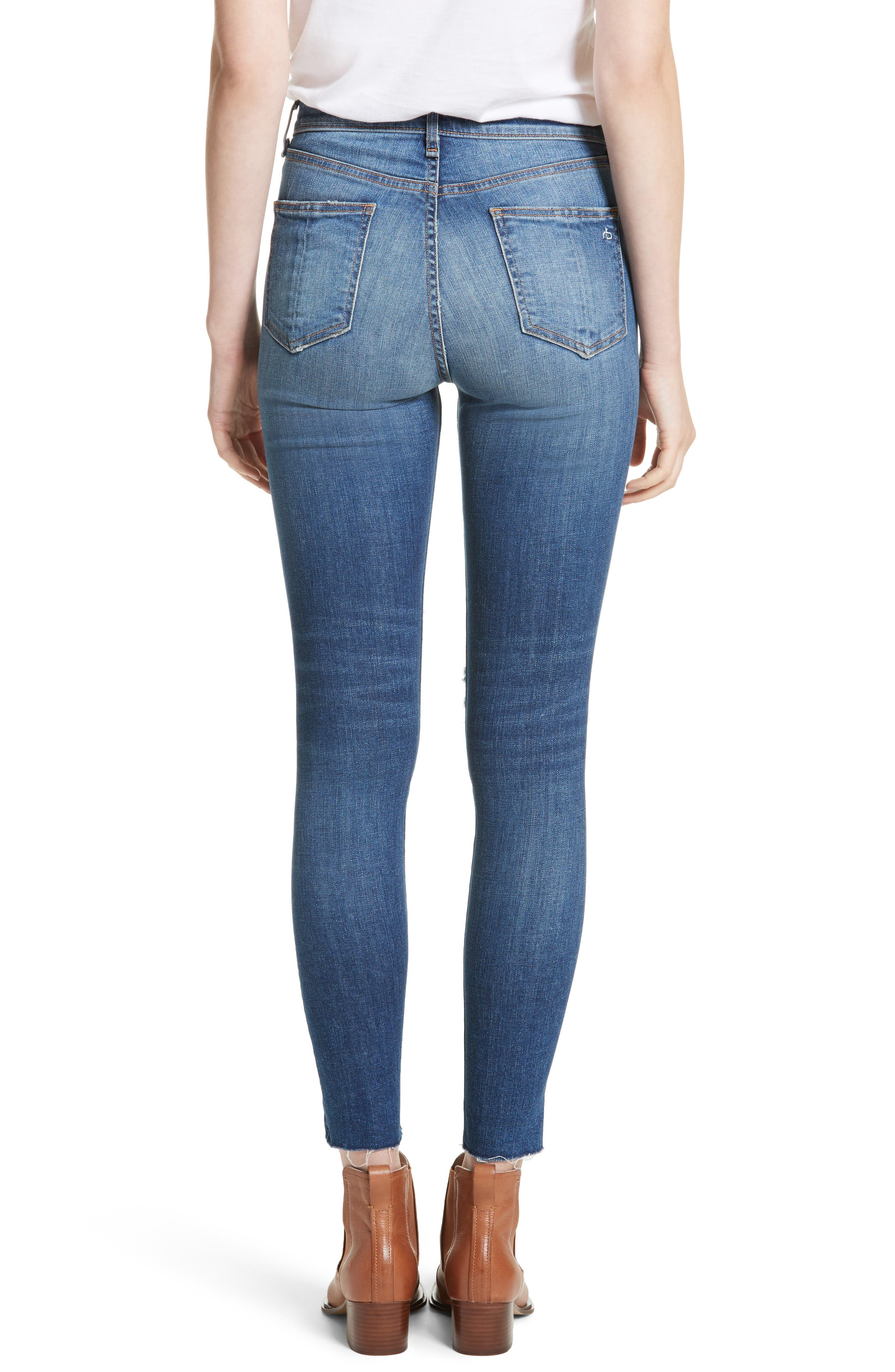 Alternate Image 2  - rag & bone/JEAN Ripped High Waist Skinny Jeans (Bonnie)