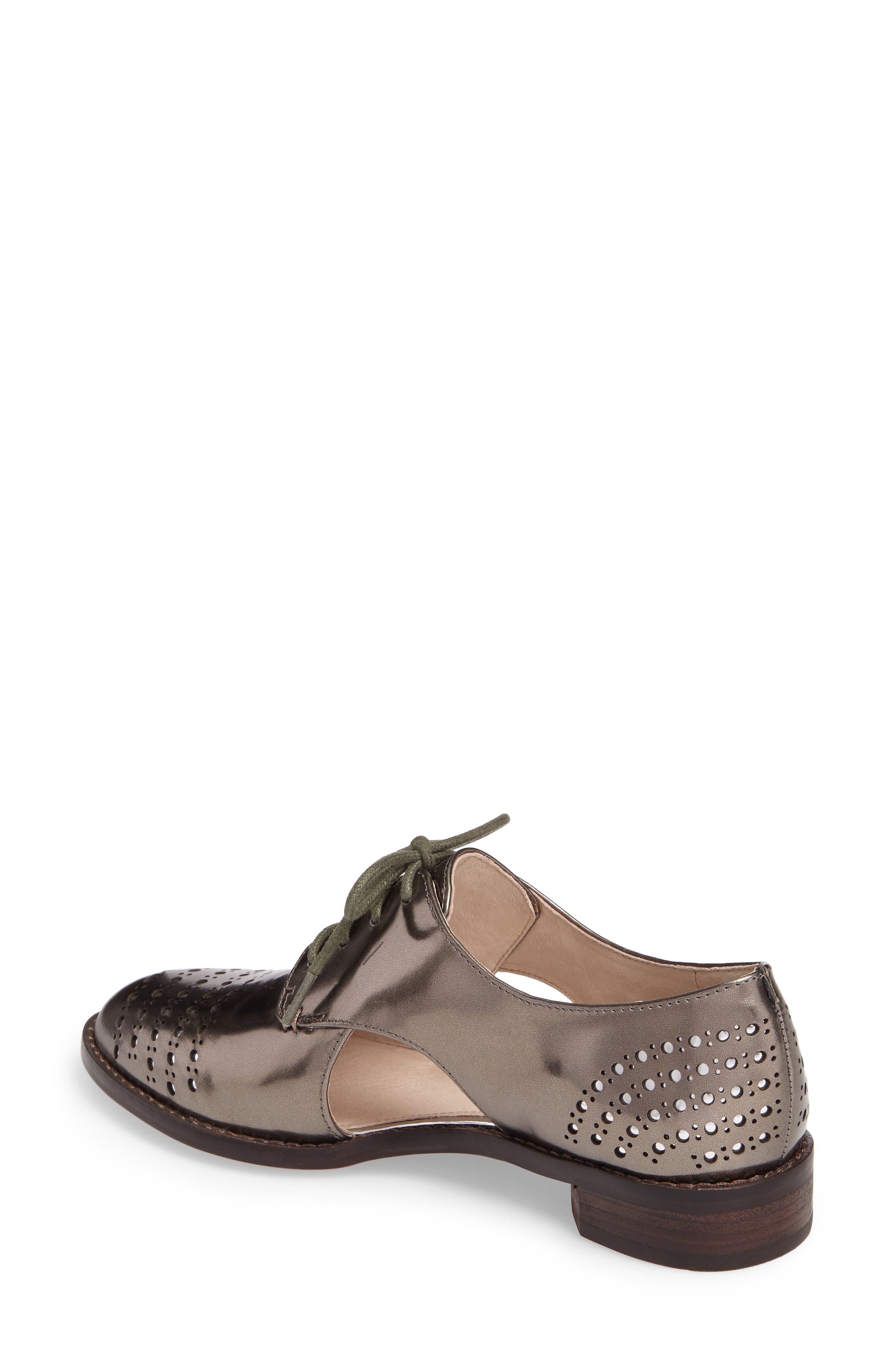 Felta Cutout Oxford,                             Alternate thumbnail 2, color,                             Iron Specchio Leather