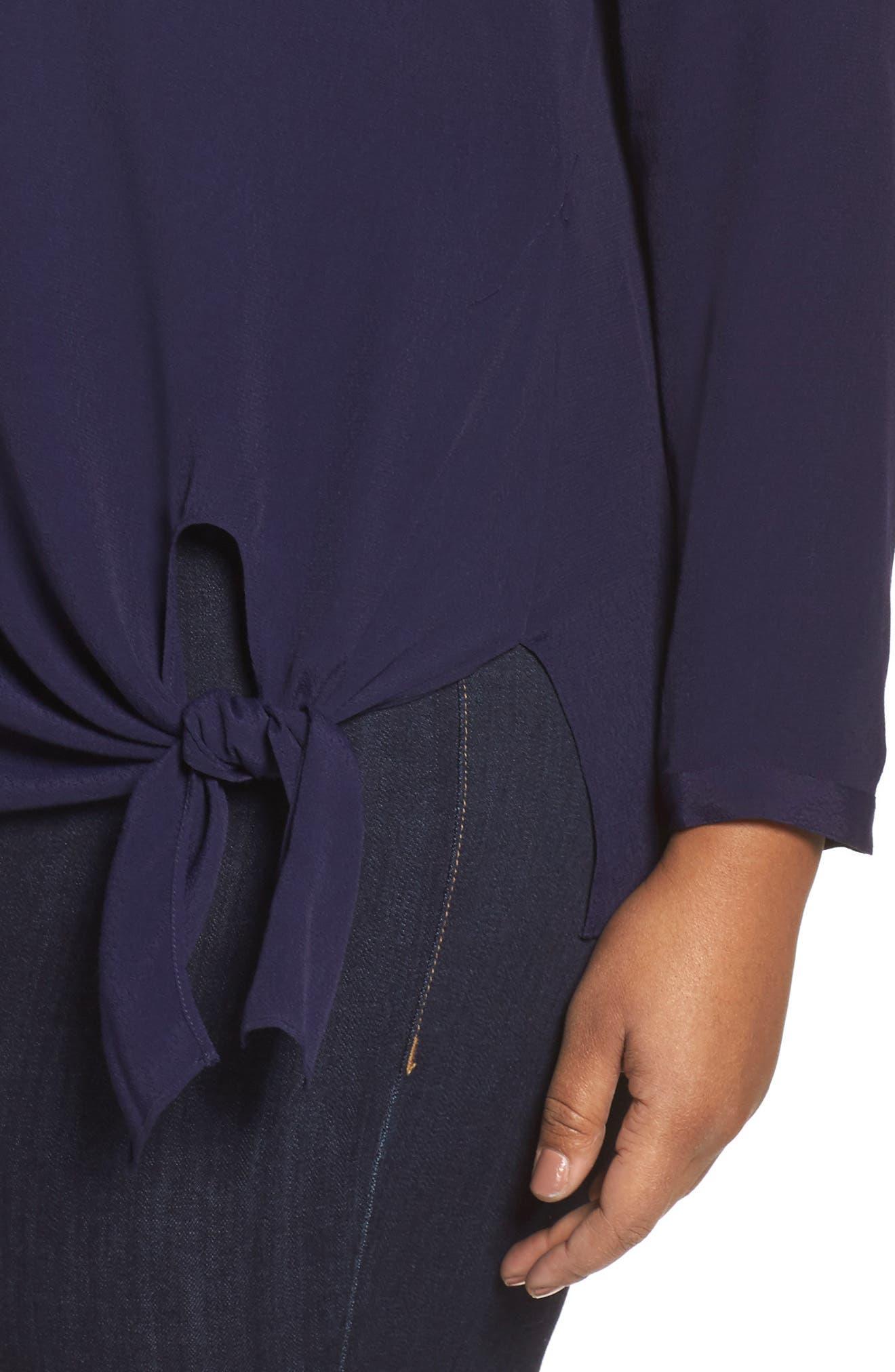 Alternate Image 4  - Sejour Side Tie Blouse (Plus Size)