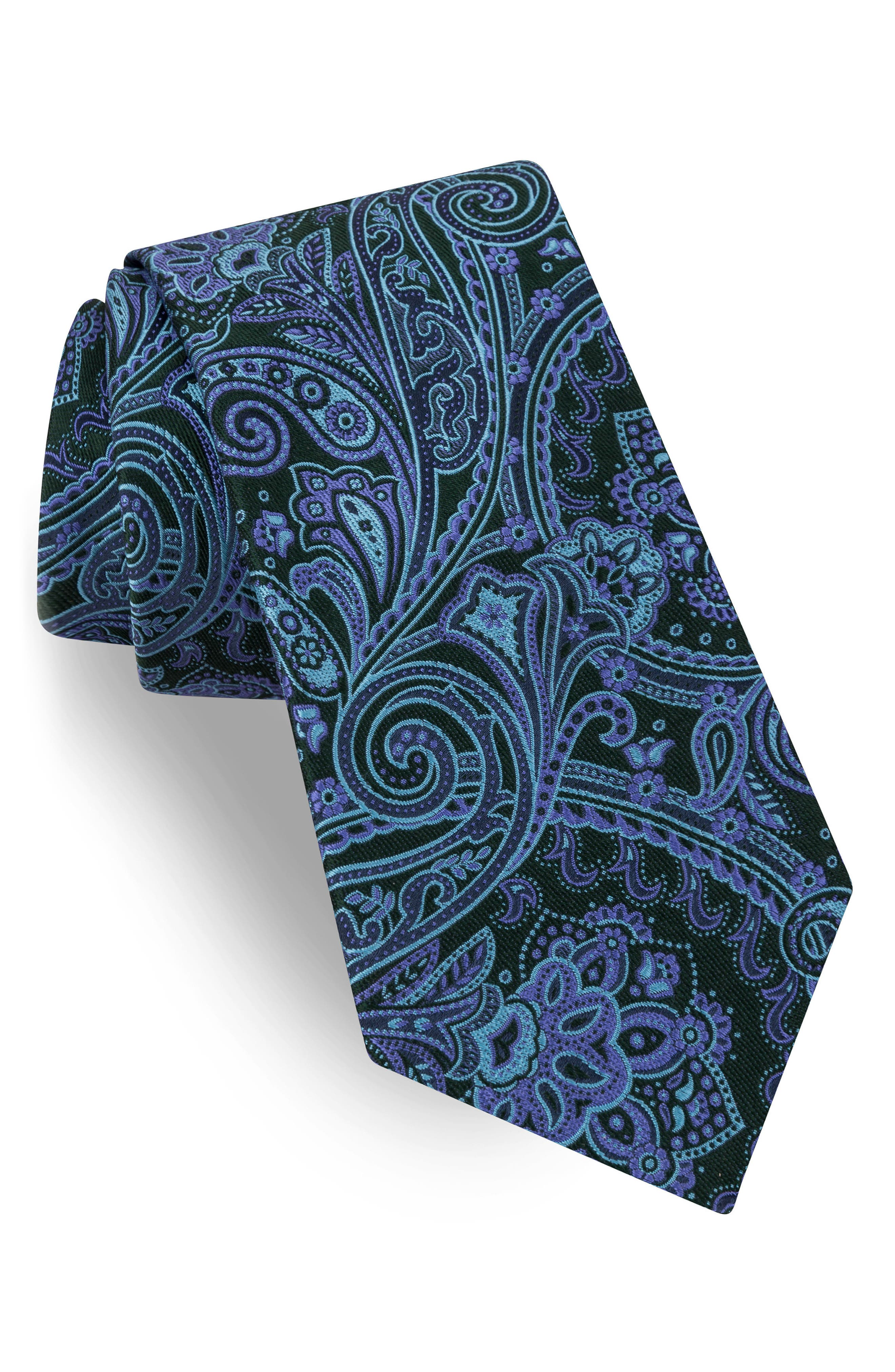 Chester Paisley Silk Tie,                         Main,                         color, Blue/ Hunter