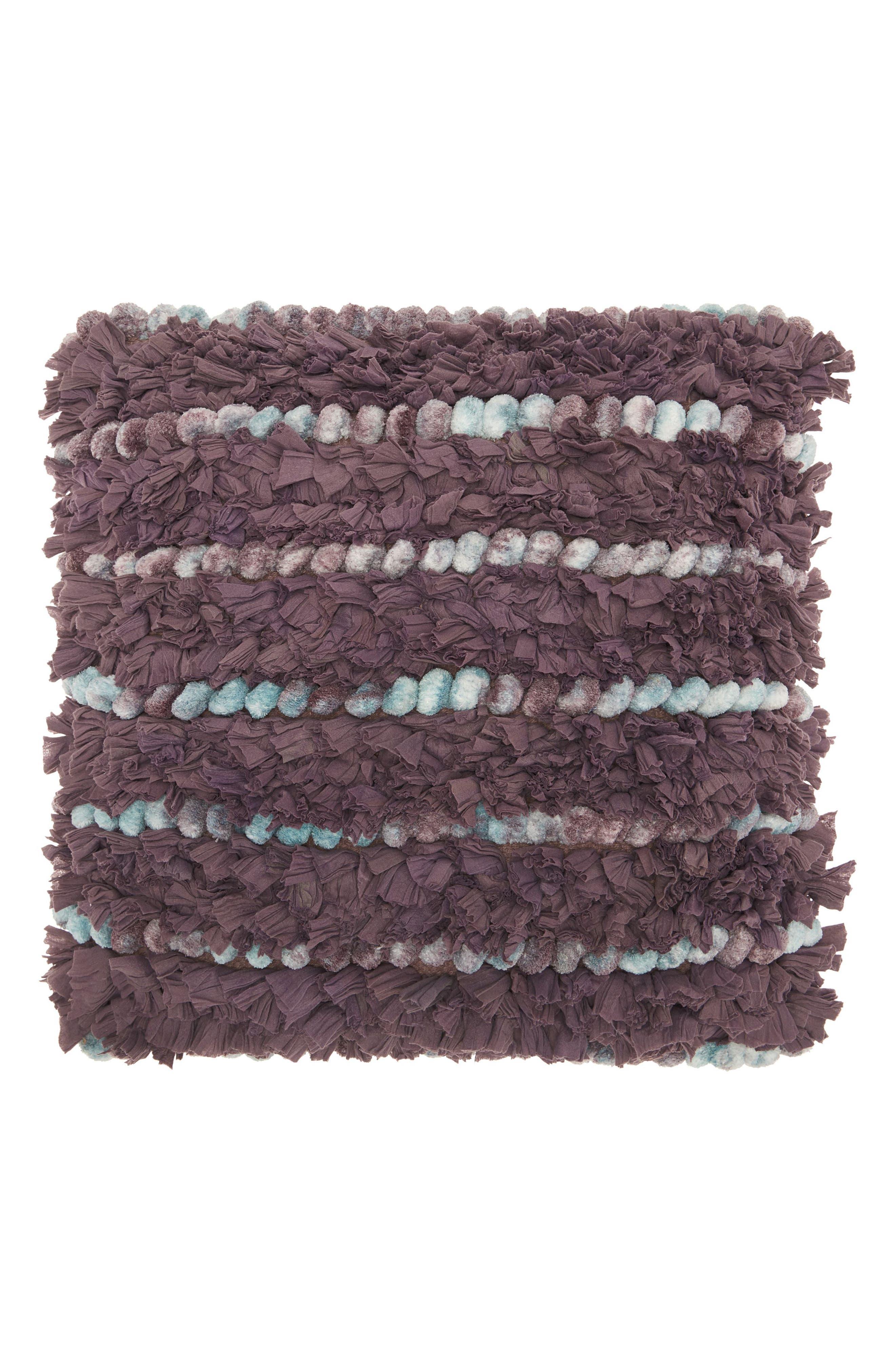 Paper Loop & Pompom Shag Pillow,                         Main,                         color, Lavender