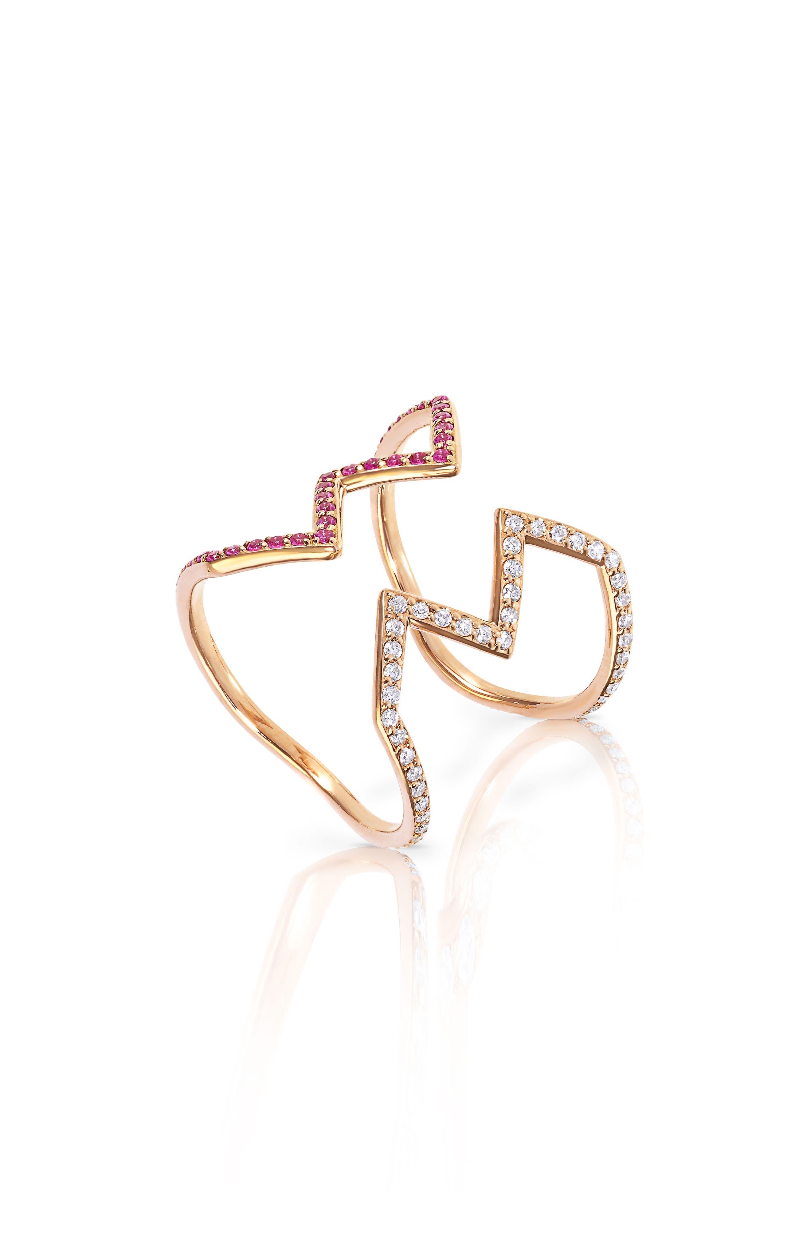 Baby Memphis Open Ziggy Diamond & Pink Sapphire Ring,                         Main,                         color, Rose Gold/ Pink Sapphire