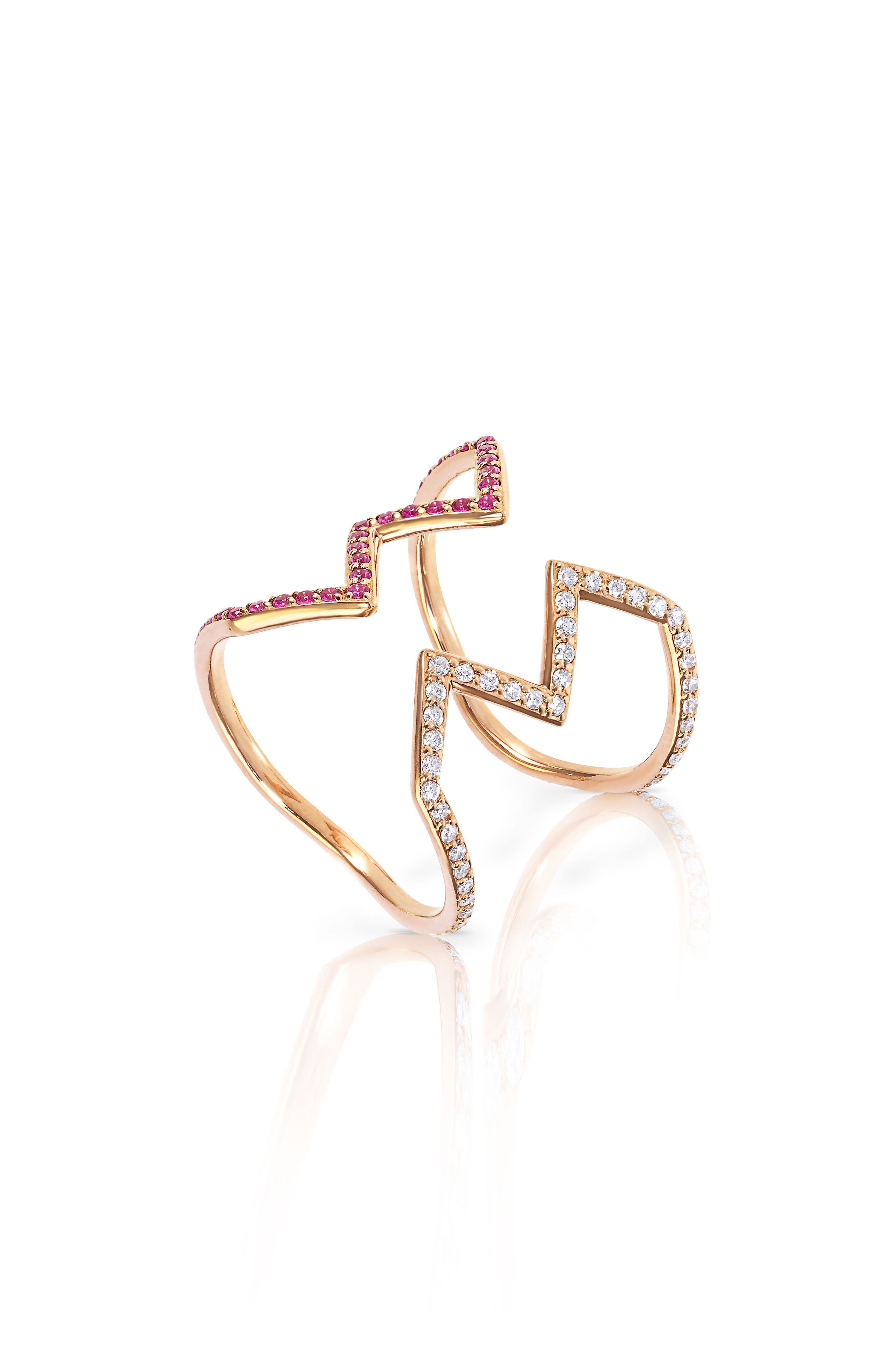 Sabine Getty Baby Memphis Open Ziggy Diamond & Pink Sapphire Ring