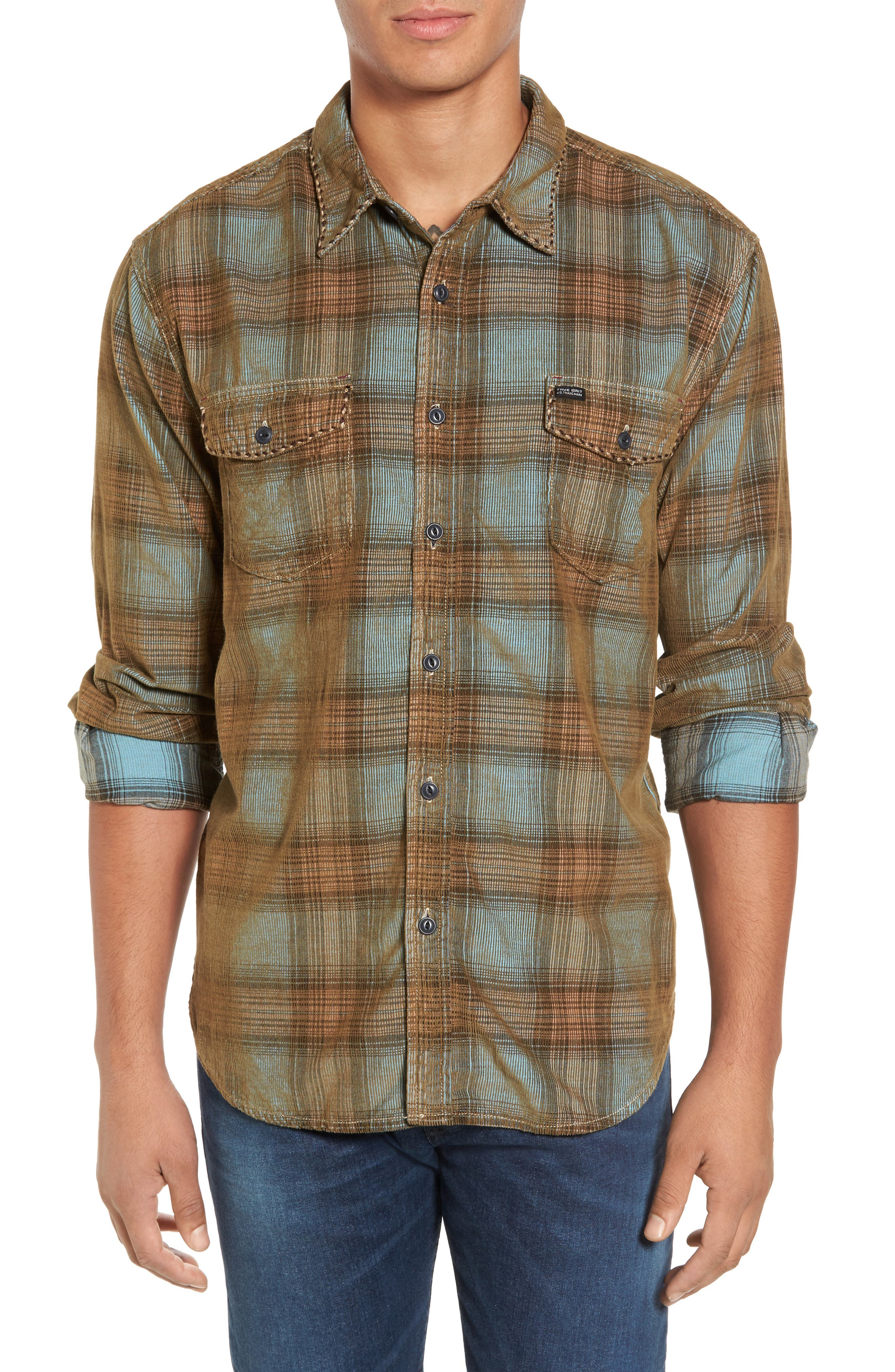 Main Image - True Grit Ventura Vintage Slim Fit Plaid Corduroy Shirt