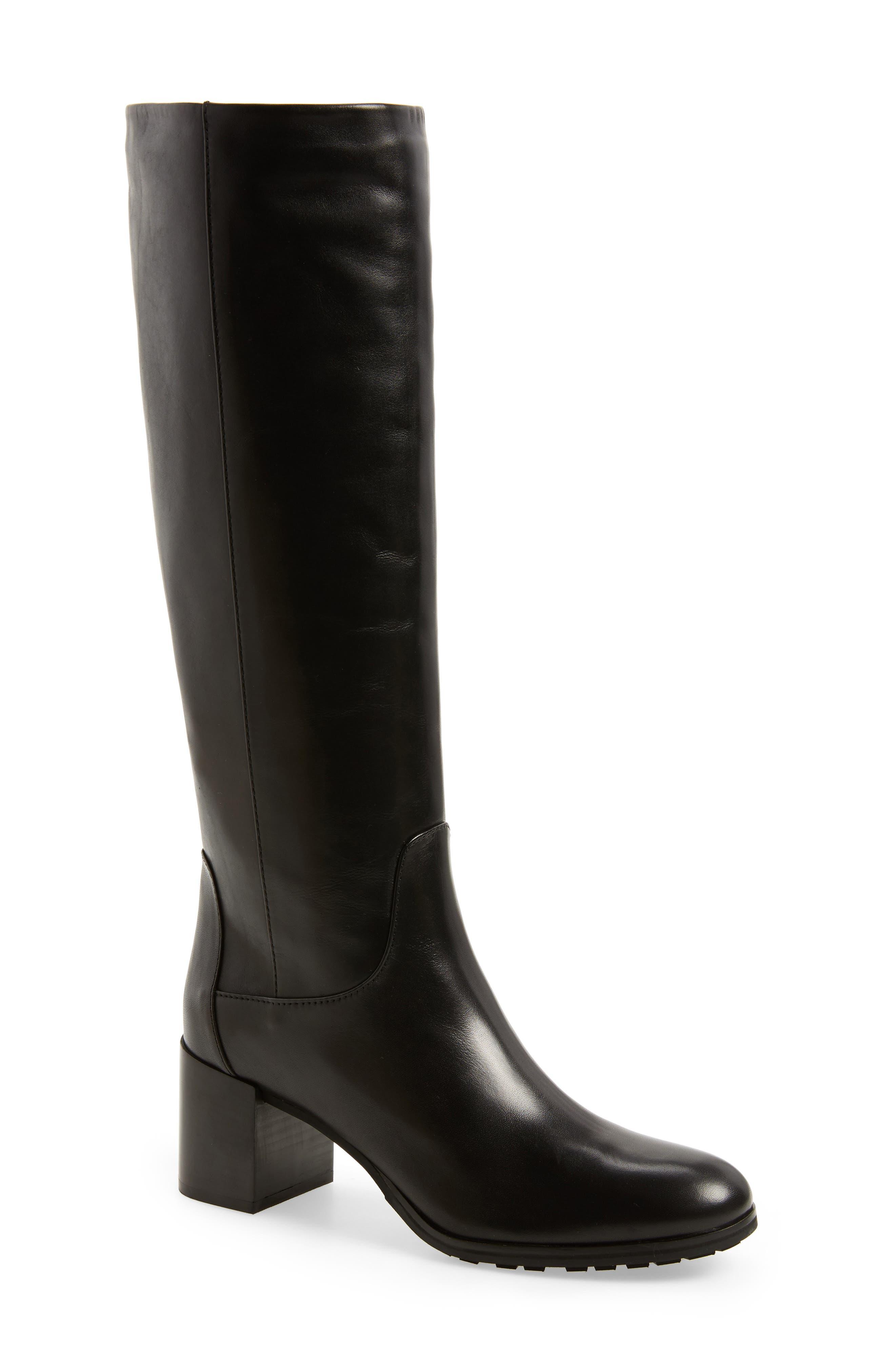 Evelin Weatherproof Knee High Boot,                             Main thumbnail 1, color,                             Black Calf