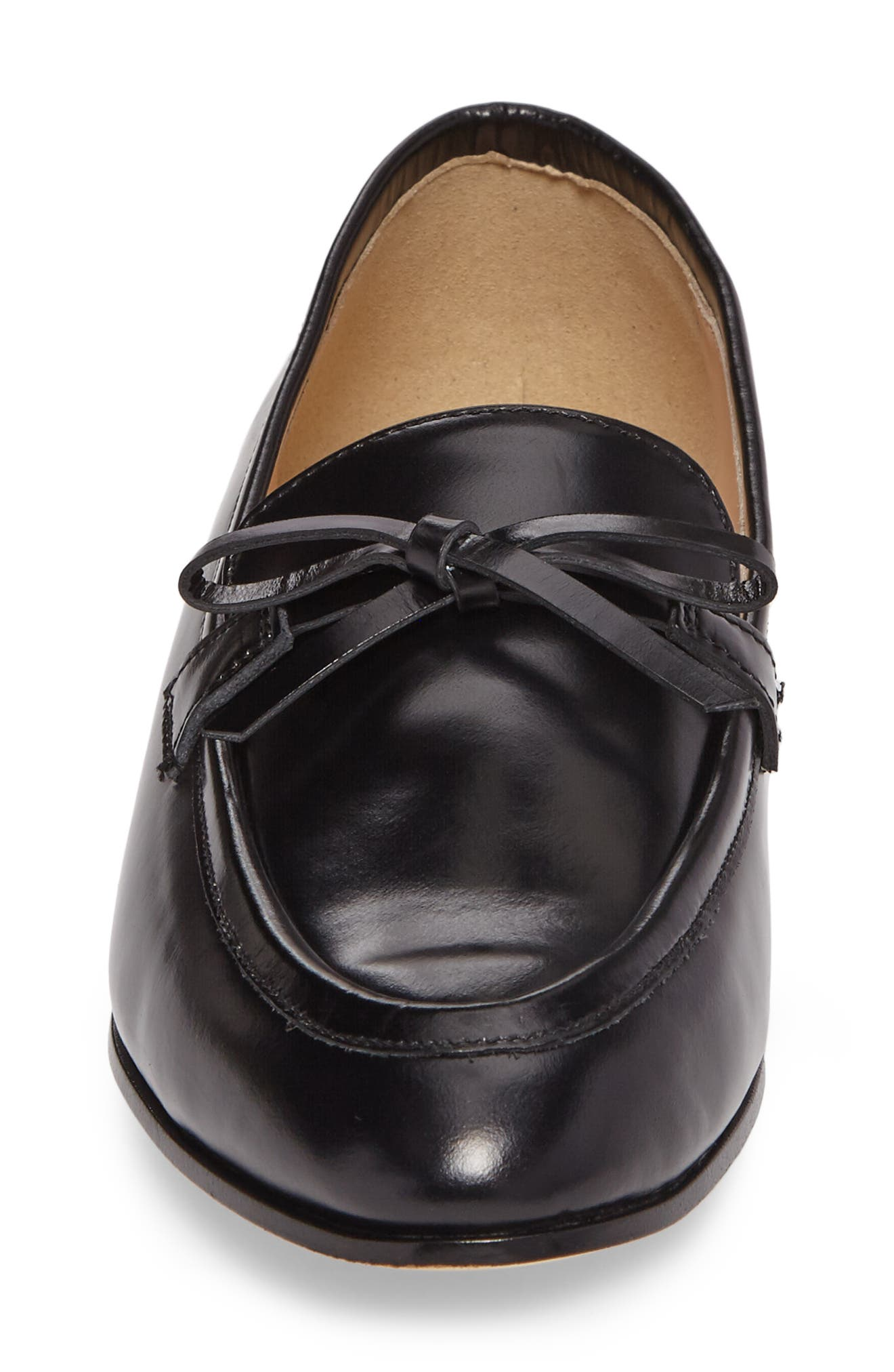 Bow Loafer,                             Alternate thumbnail 4, color,                             Black Leather