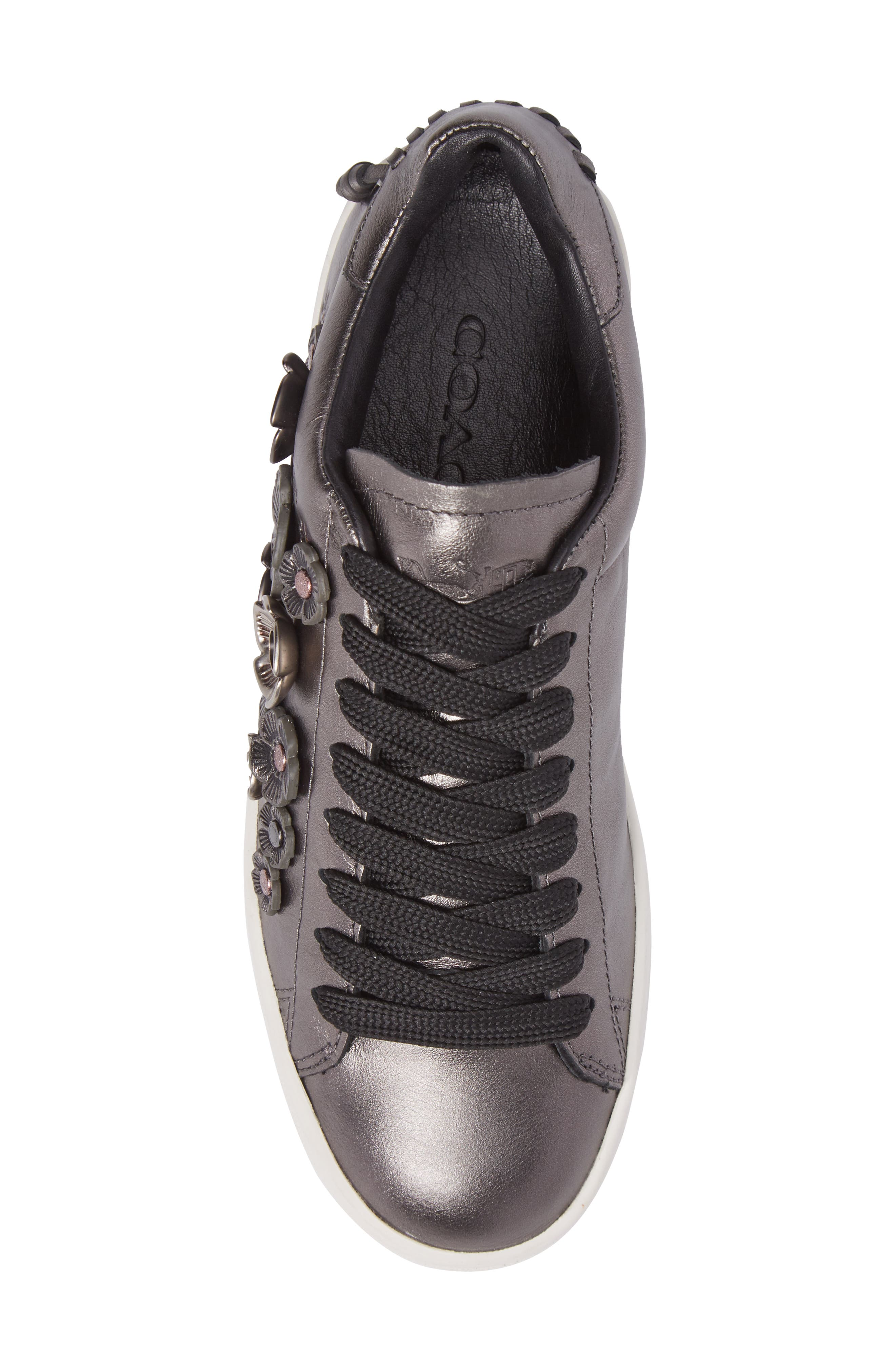 Tea Rose Metallic Sneaker,                             Alternate thumbnail 5, color,                             Gunmetal Leather