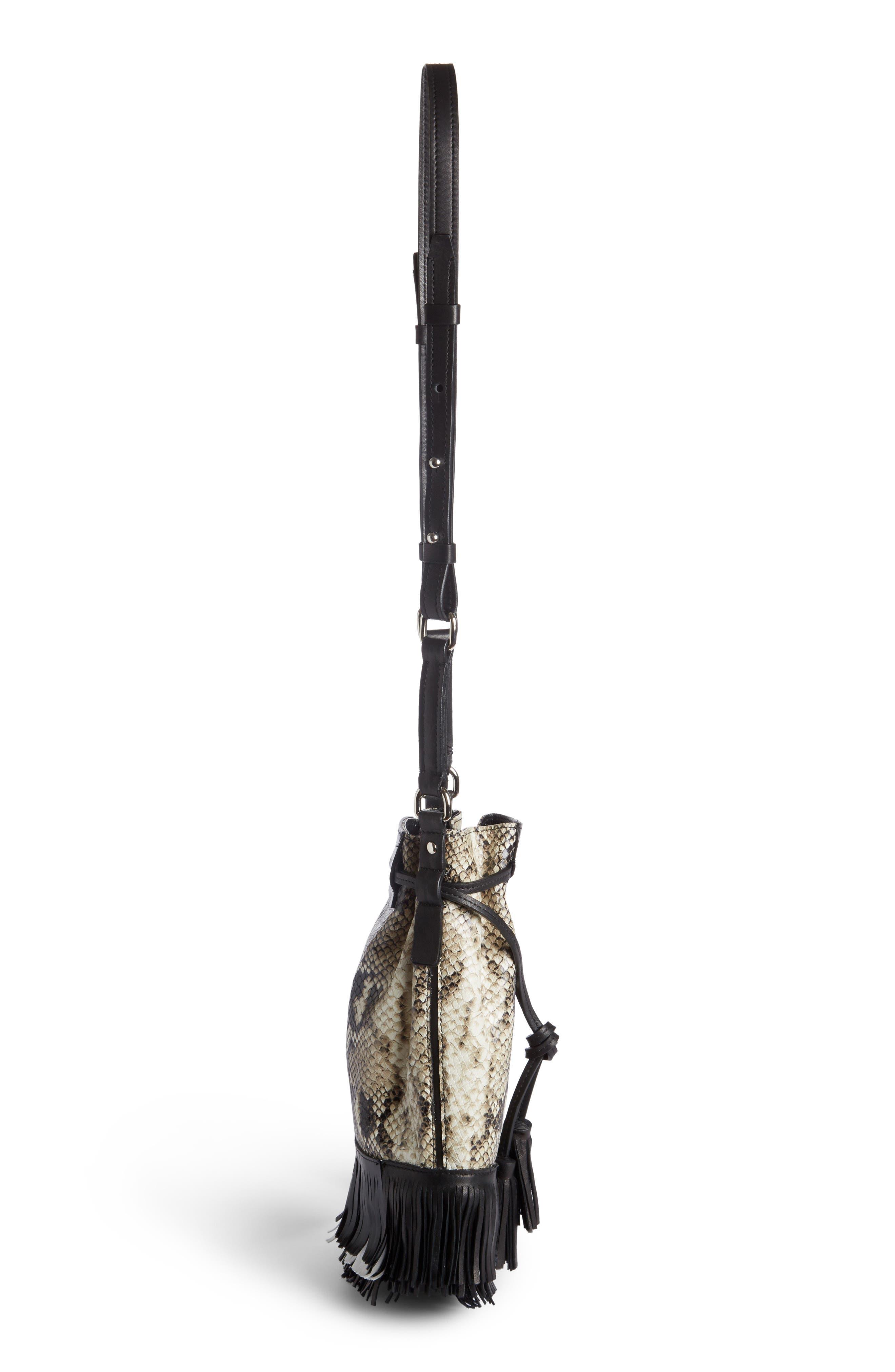 Askiah Fringed Snake Embossed Leather Crossbody Bag,                             Alternate thumbnail 3, color,                             Beige/ Dore