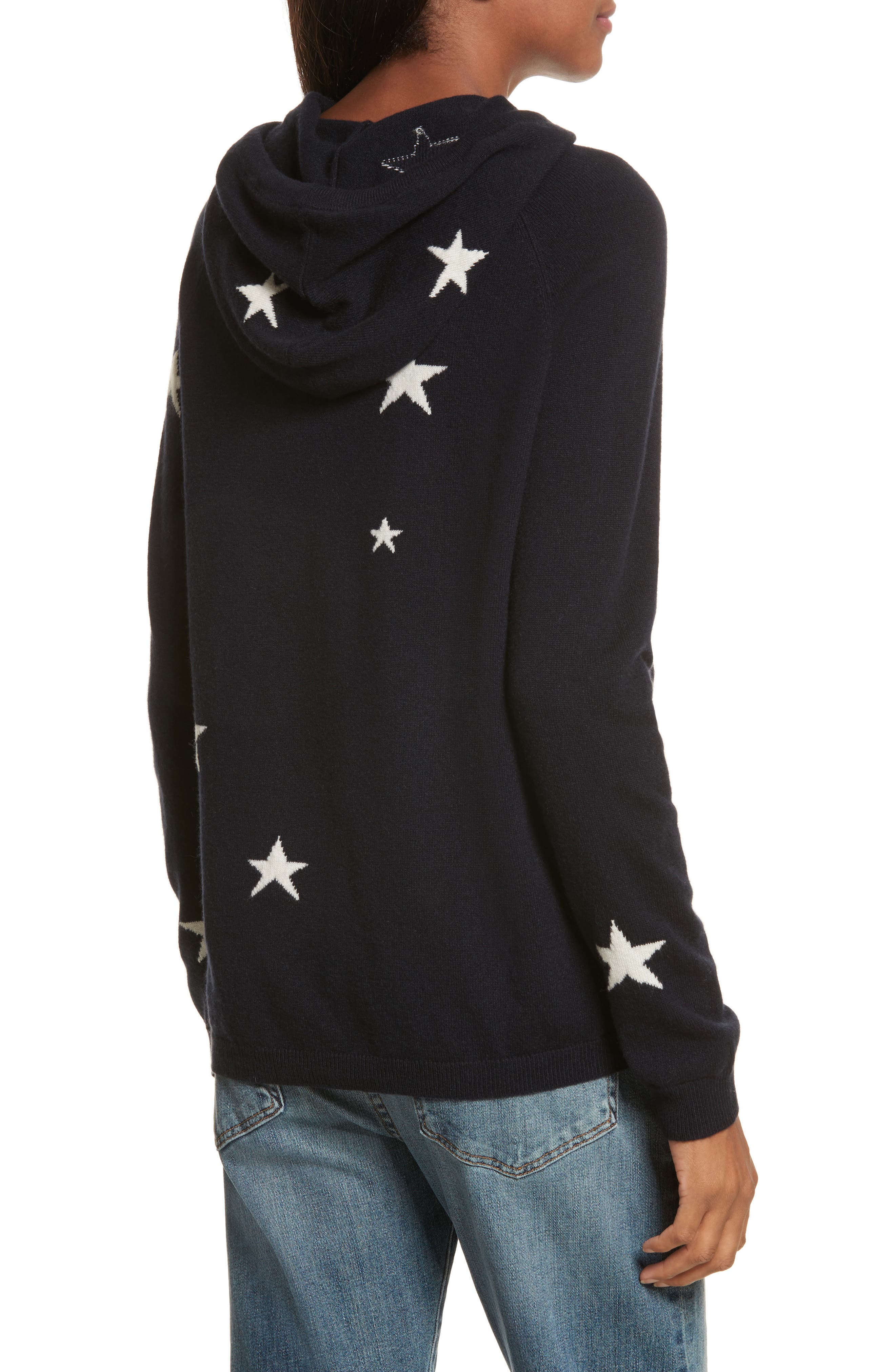 CHINTI & PARKER Star Cashmere Hoodie,                             Alternate thumbnail 2, color,                             Navy/ Cream