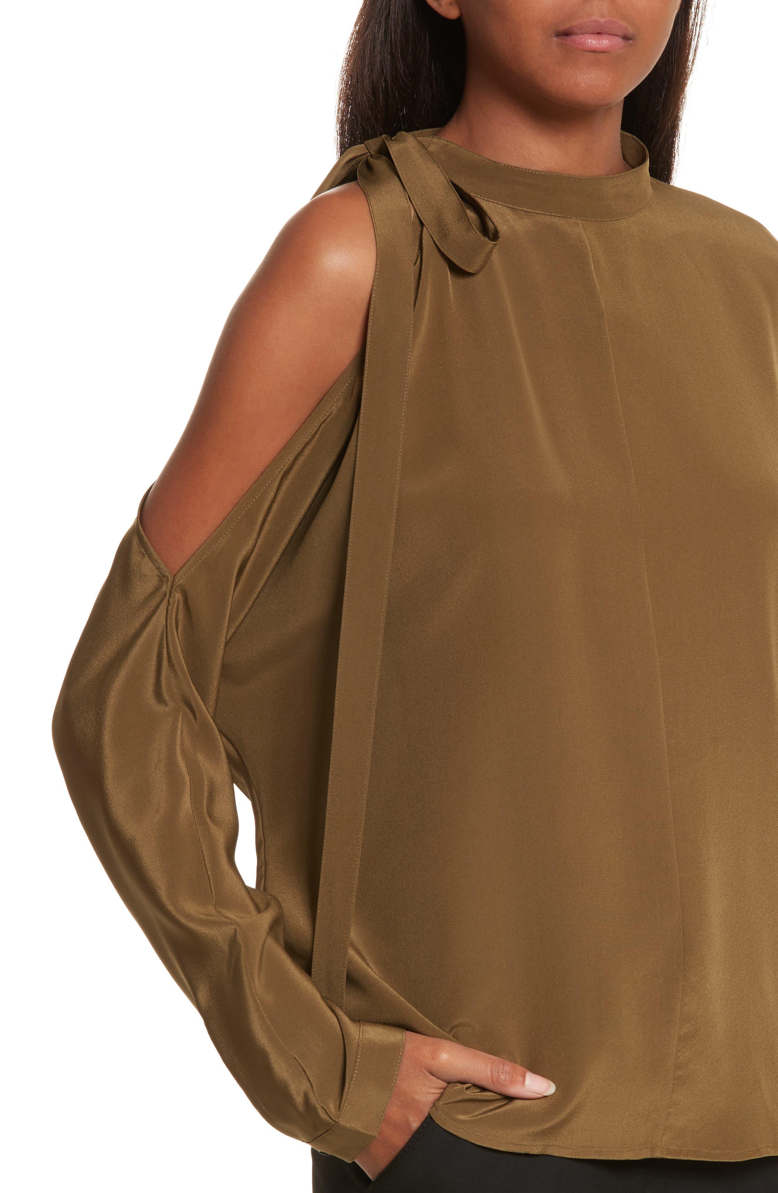 Cold Shoulder Silk Top,                             Alternate thumbnail 4, color,                             Olive