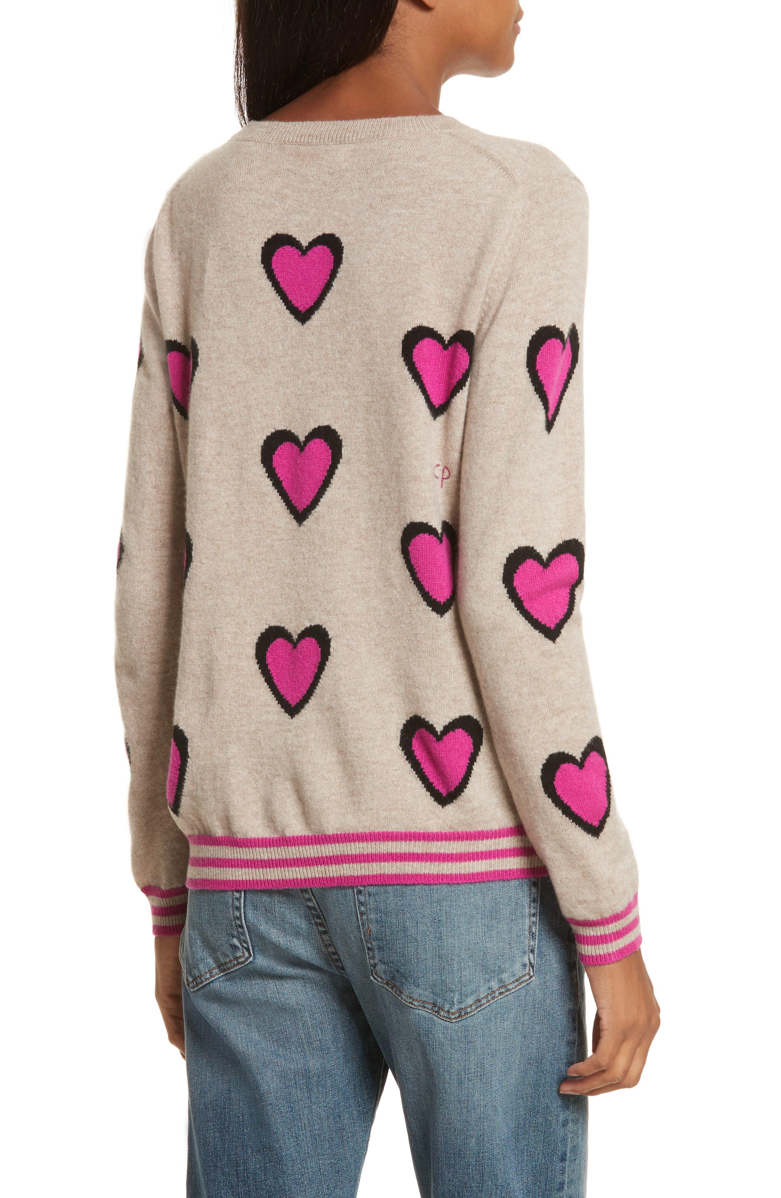 CHINTI & PARKER Heart Burst Cashmere Sweater,                             Alternate thumbnail 2, color,                             Oatmeal/ Black/ Fuchsia