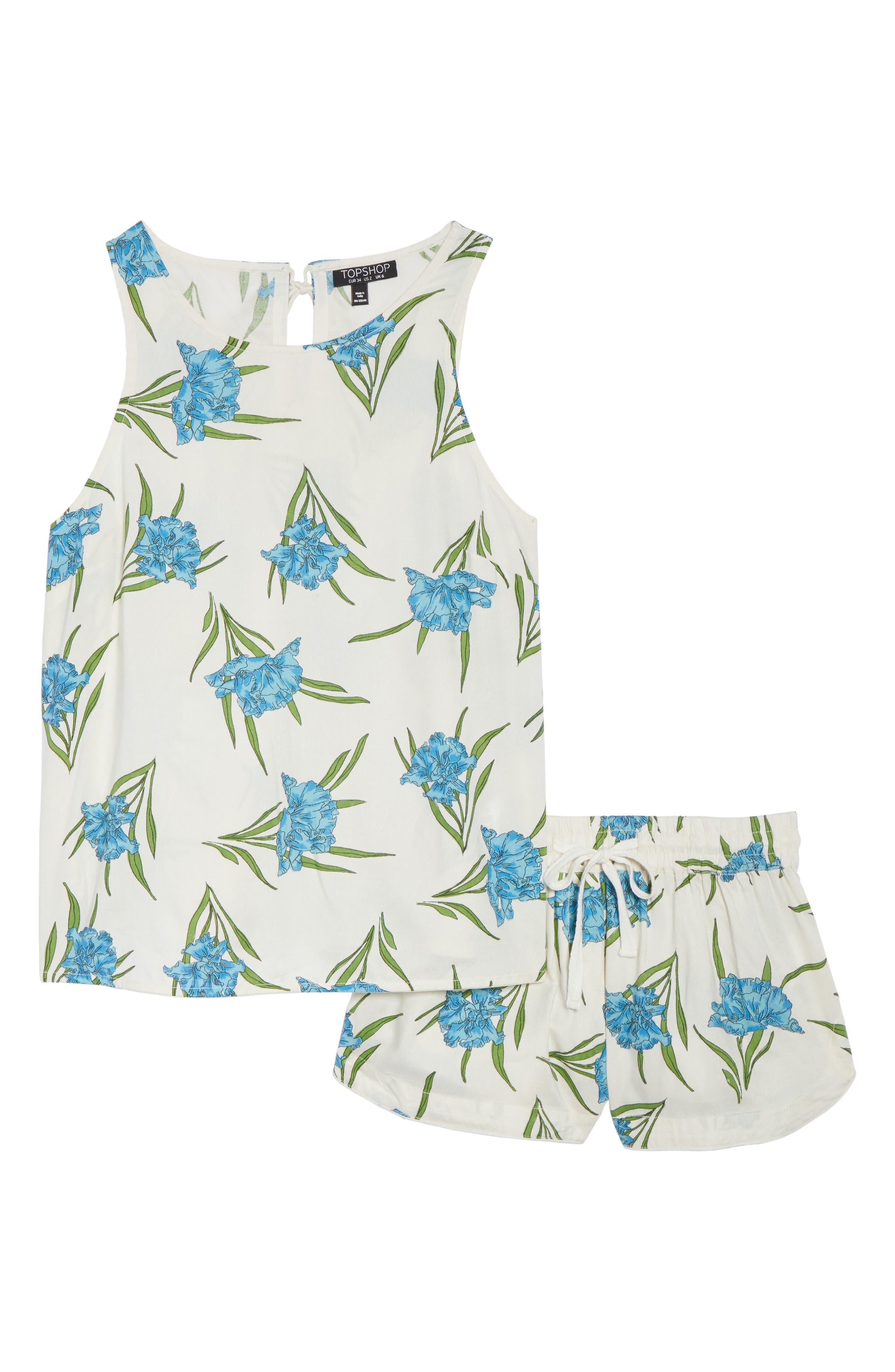 Botanical Short Pajamas,                             Alternate thumbnail 4, color,                             Ivory Multi