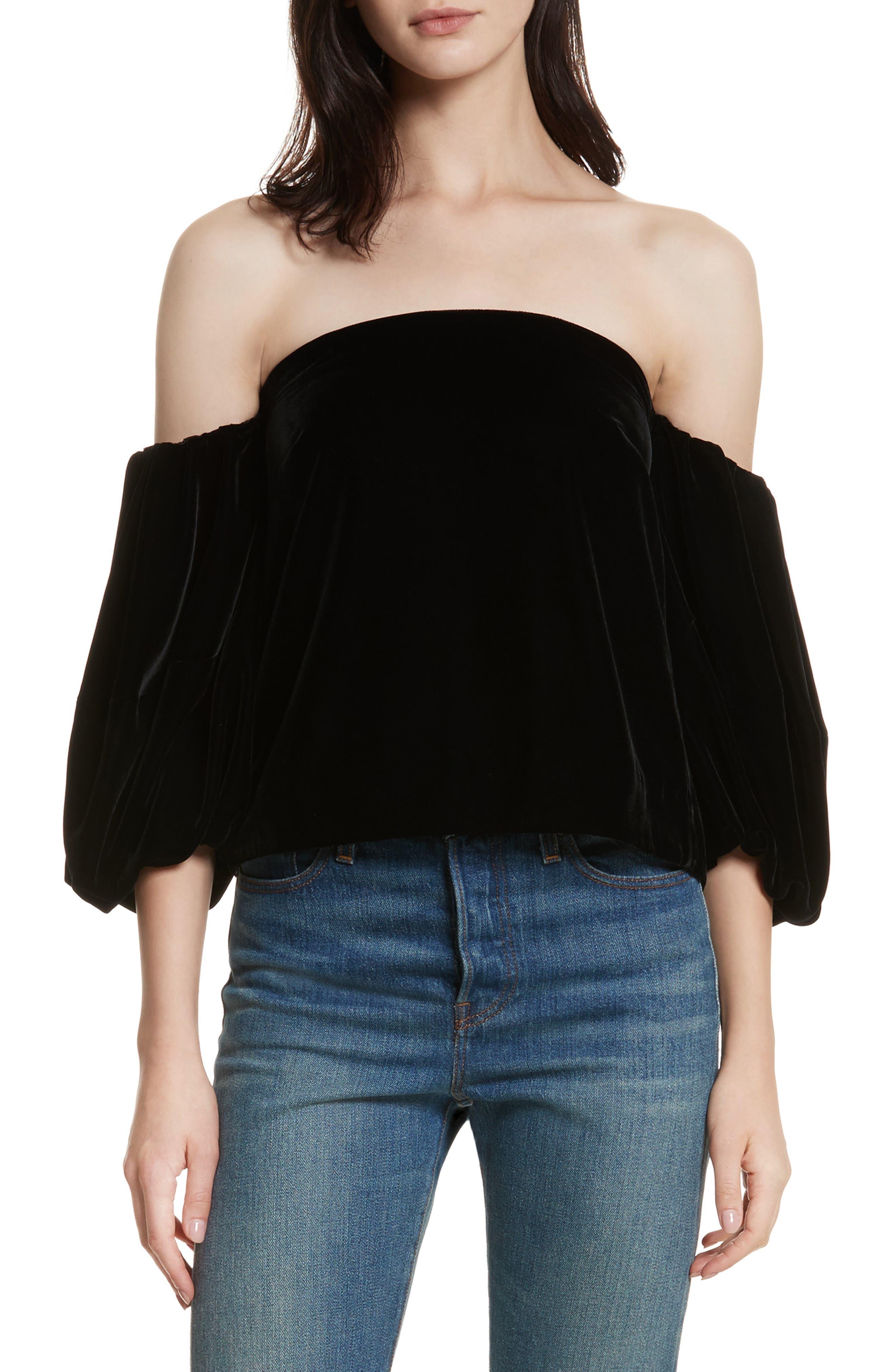 Simmy Velvet Off the Shoulder Top,                         Main,                         color, Black