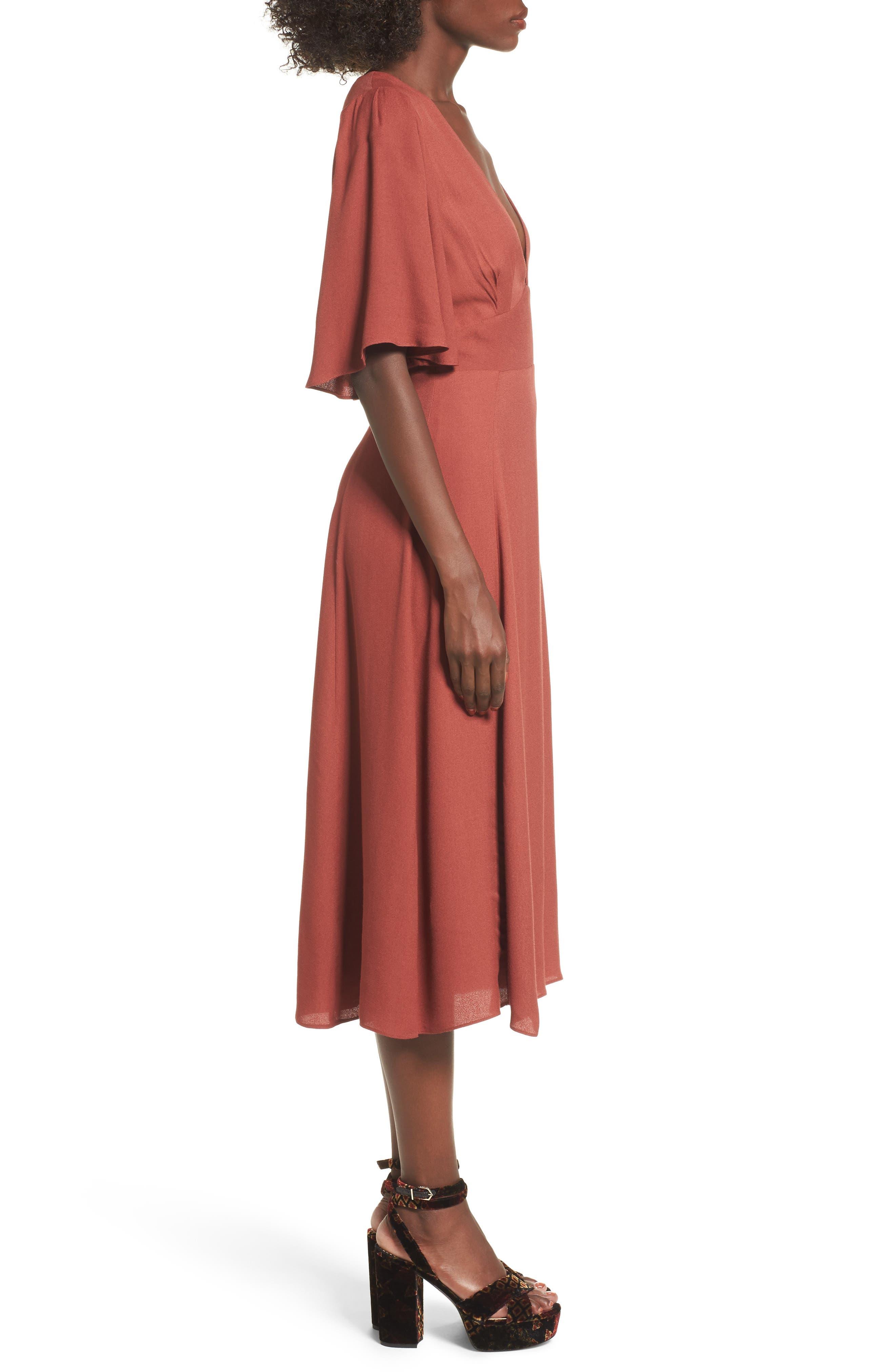 Zelda Open Back Midi Dress,                             Alternate thumbnail 3, color,                             Henna